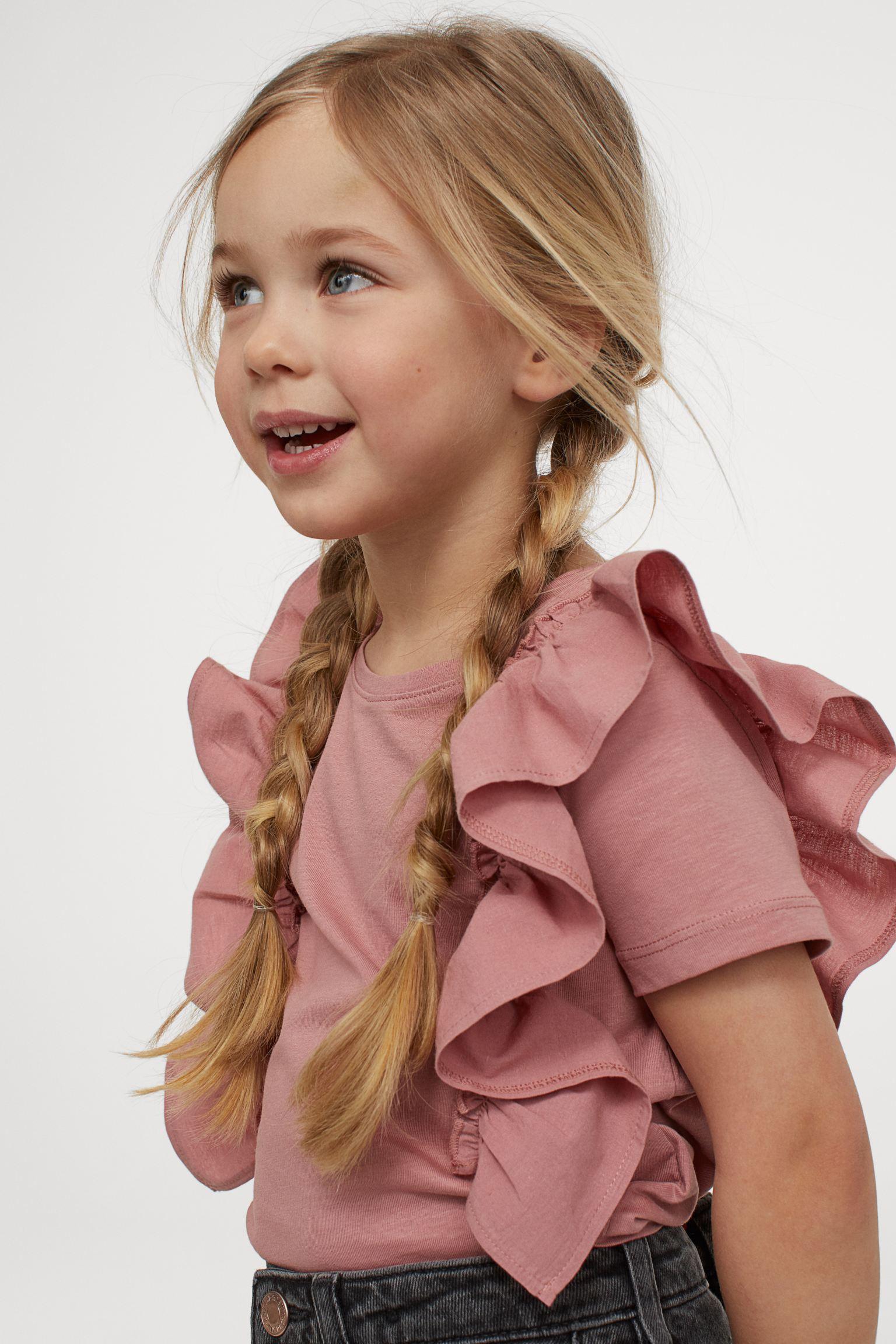 H&M Kids Ruffle-Trimmed Cotton Top