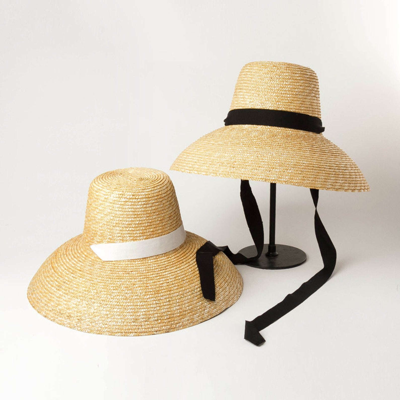 High flat top with large brim with binding straw hat fashion concave shape sun - resistant beach straw hat