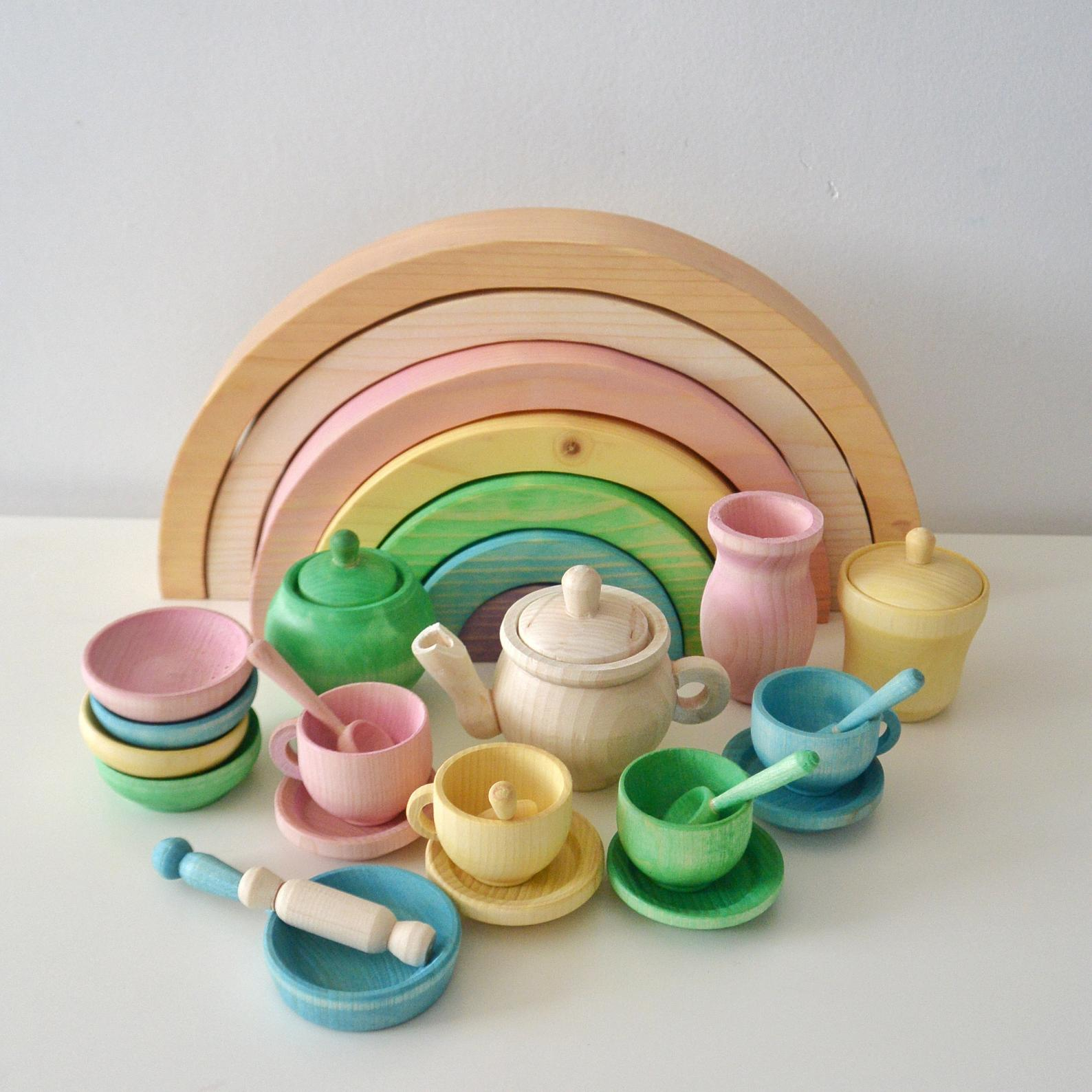 Dishes set Wood Toy Toy kitchen Pretend play Rainbow stacker Wooden tunnel Dishes Cookware Set Spring 22 pcs + Rainbow 7 pcs