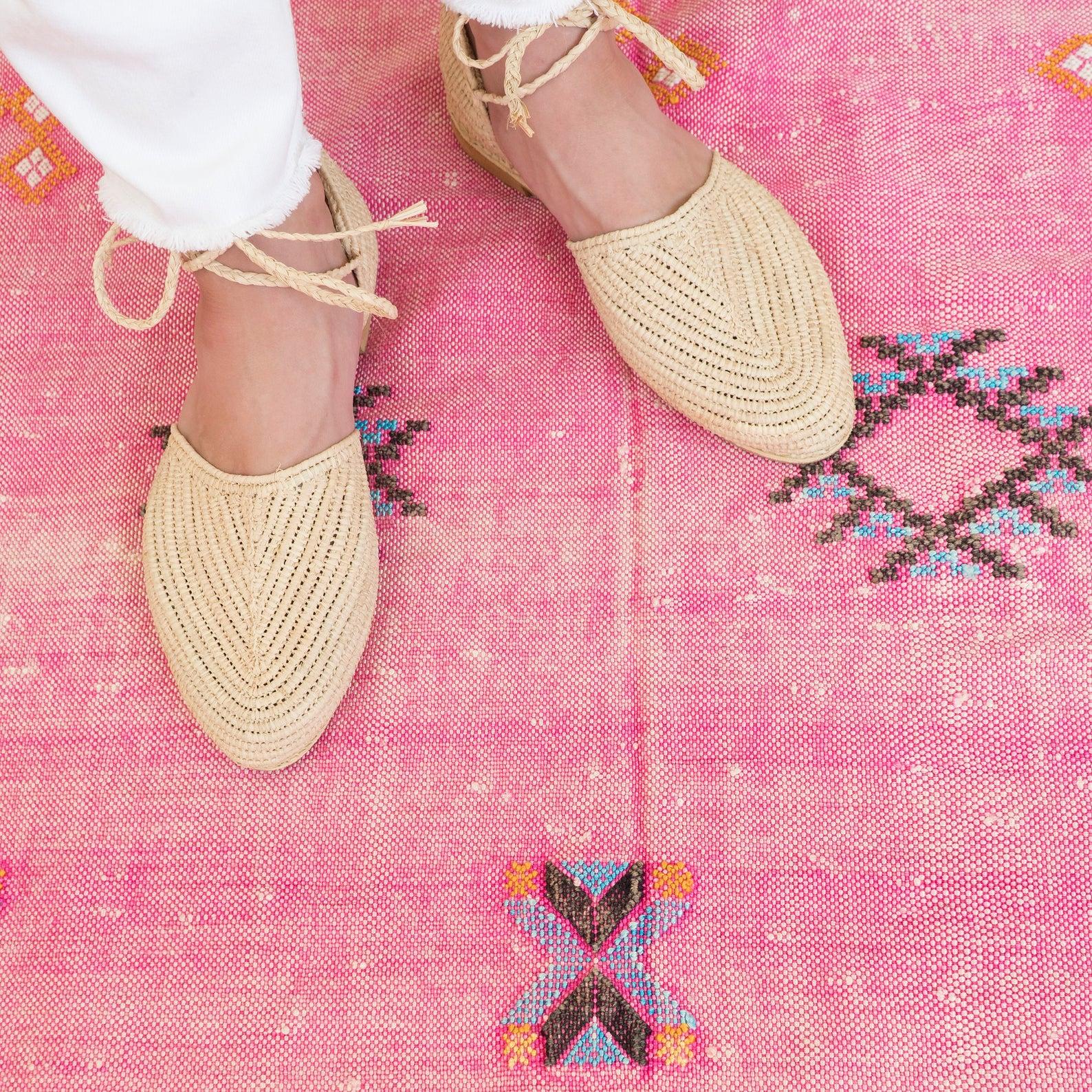 Raffia Ankle Strap Slipper Sandals