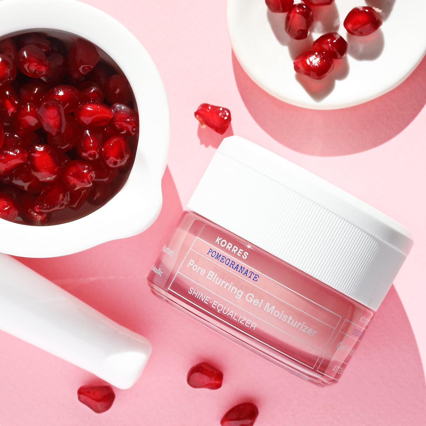 KORRES Pomegranate Pore Blurring Gel Moisturizer and cherries