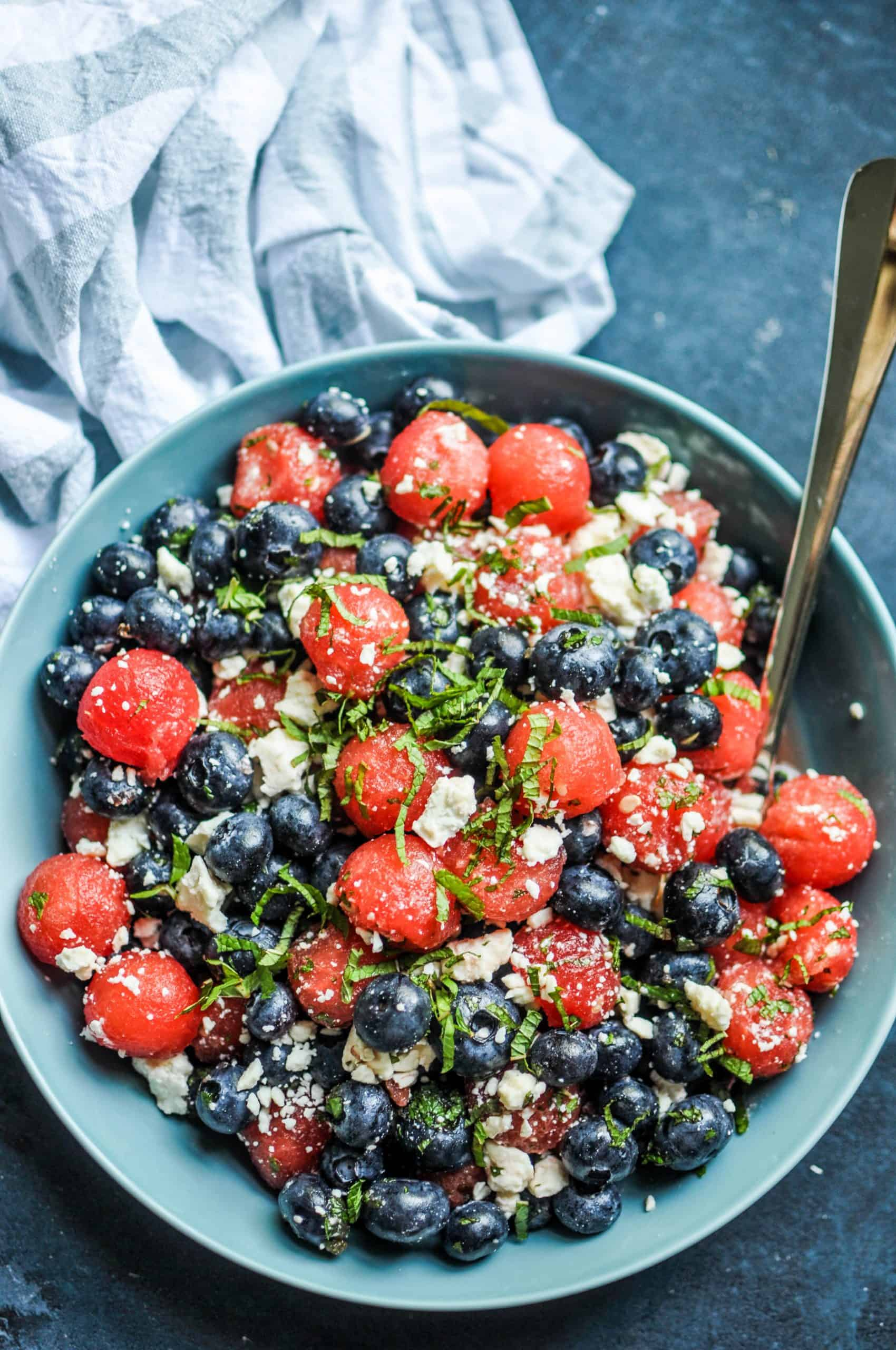 Watermelon, Blueberry, and Feta Salad on a grey plate