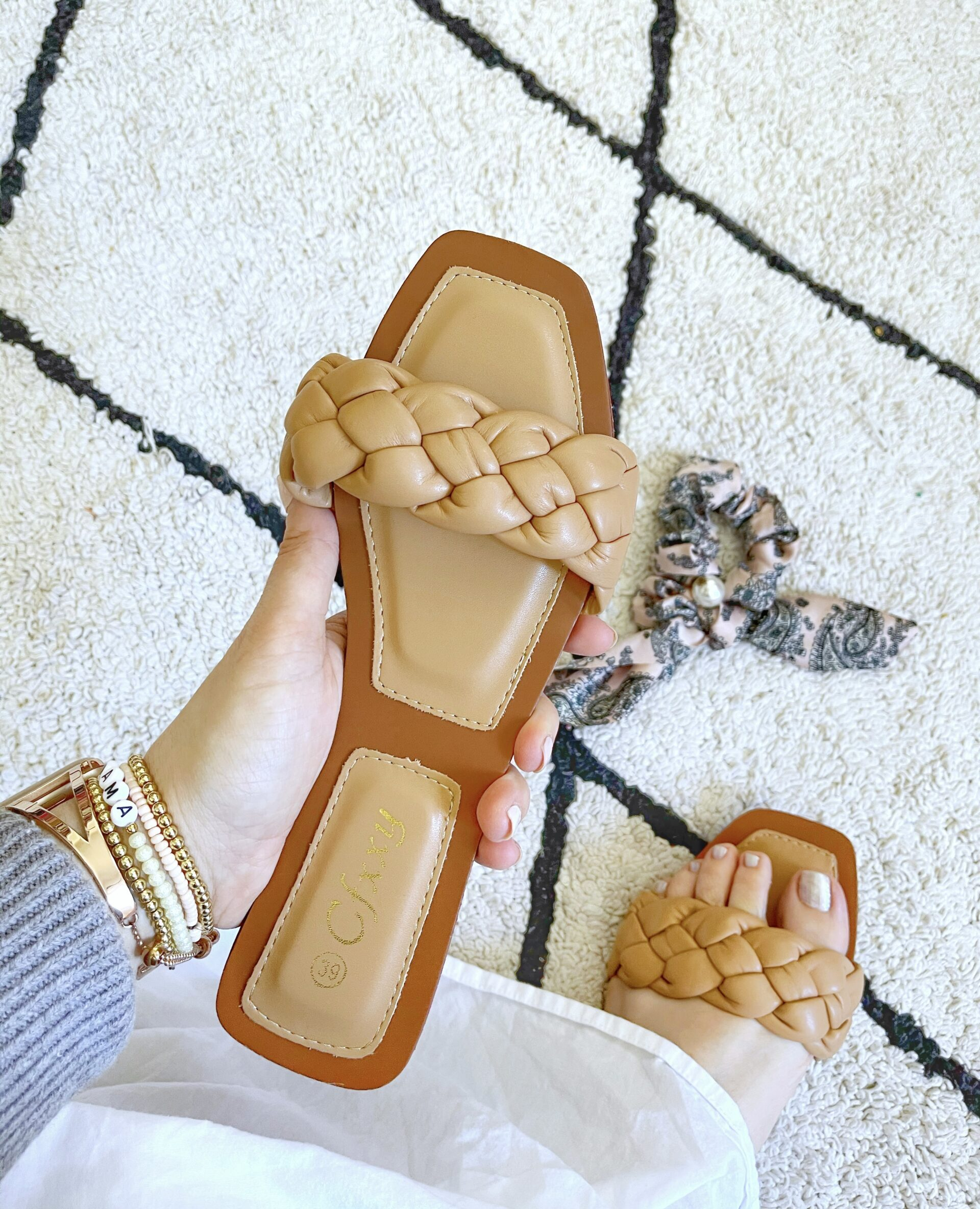 brown or nude Amazon Braided Slides for Spring Sandals