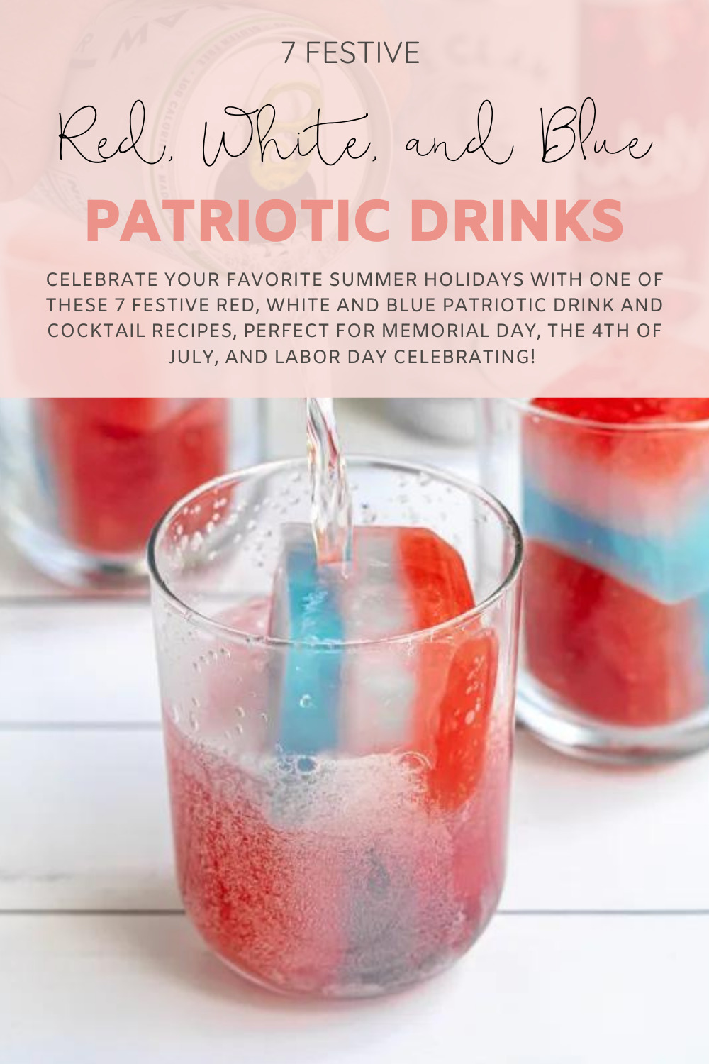 Patriotic Drink and Cocktail Recipes glass with colored ice cubes