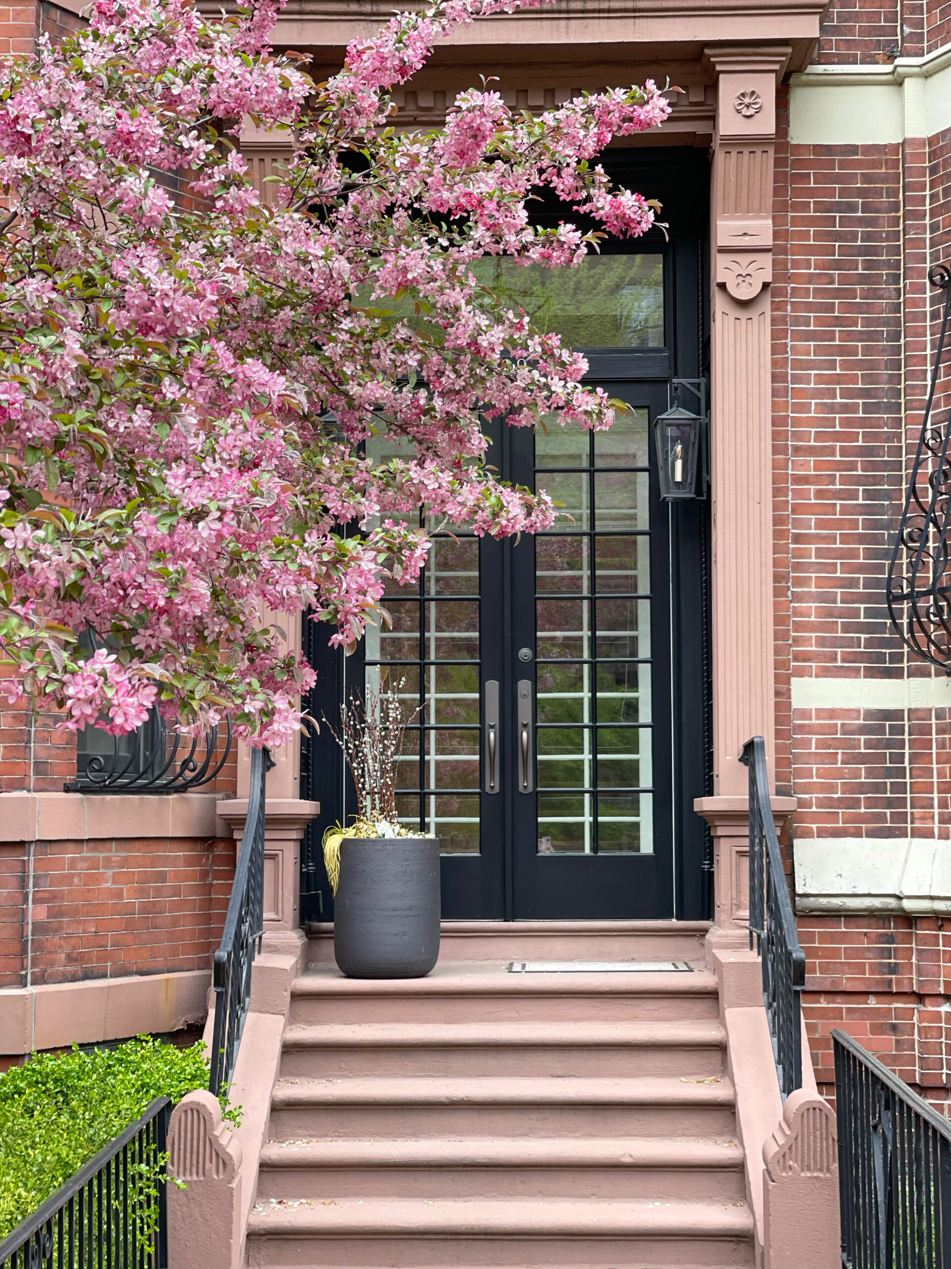 exterior of homes in Back Bay with stairs and plants for Mother's Day Weekend Plans
