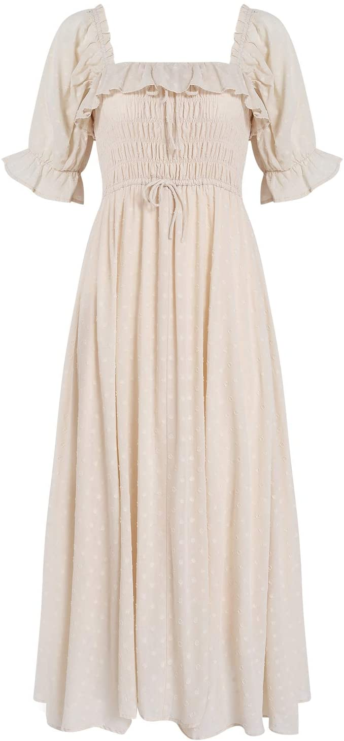 Vintage Elastic Square Neck Ruffled Half Sleeve Summer Backless Dress for weekly finds