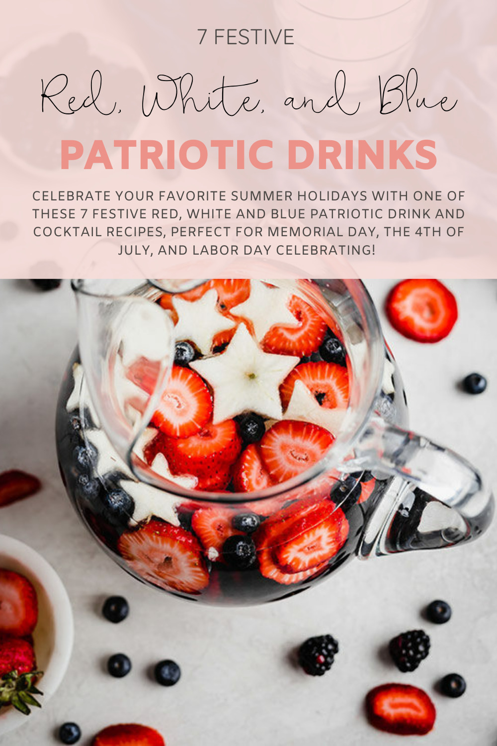Patriotic Drink and Cocktail Recipes with strawberries and berries