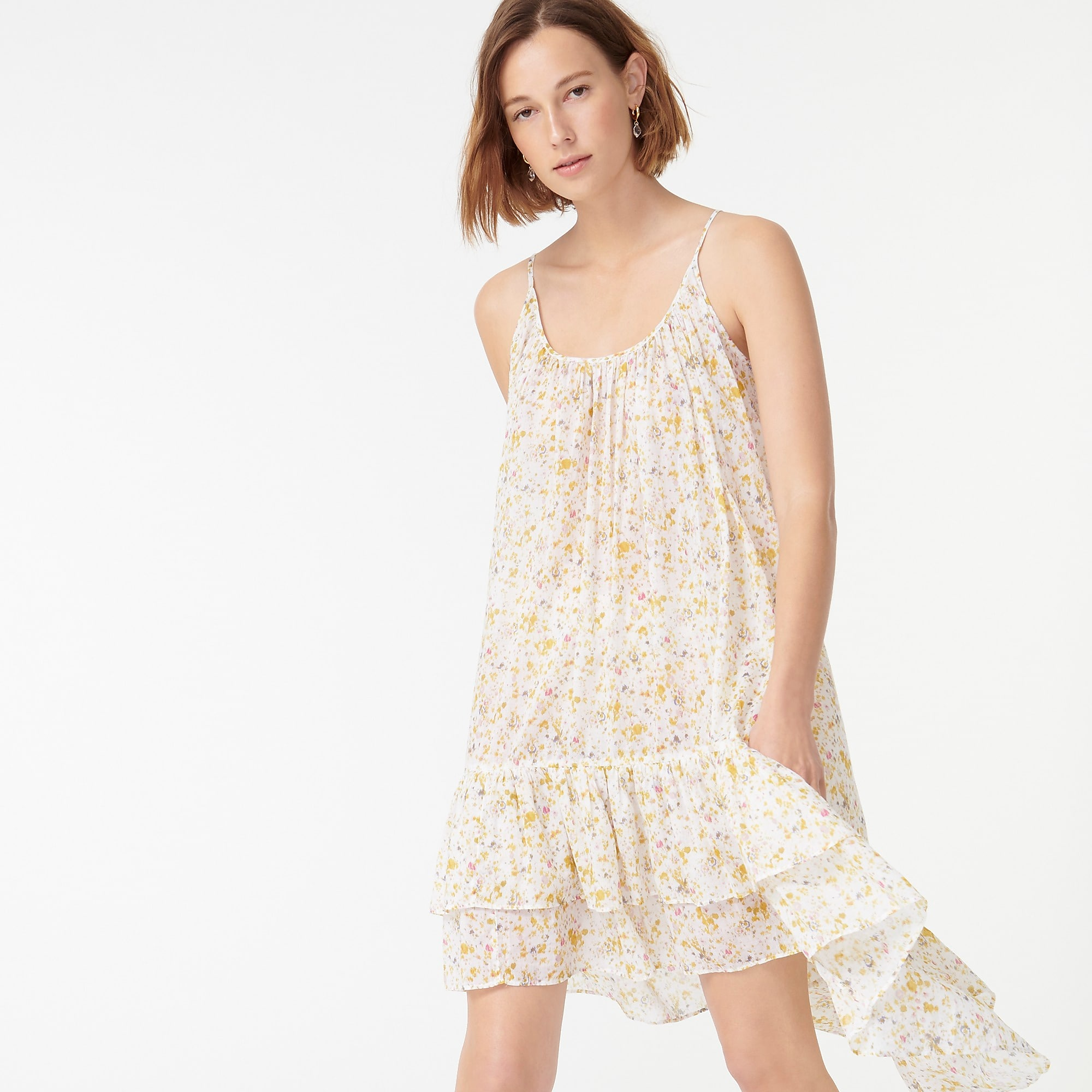 woman wearing J.Crew Tiered Cotton Voile Beach Dress in Soft Posies