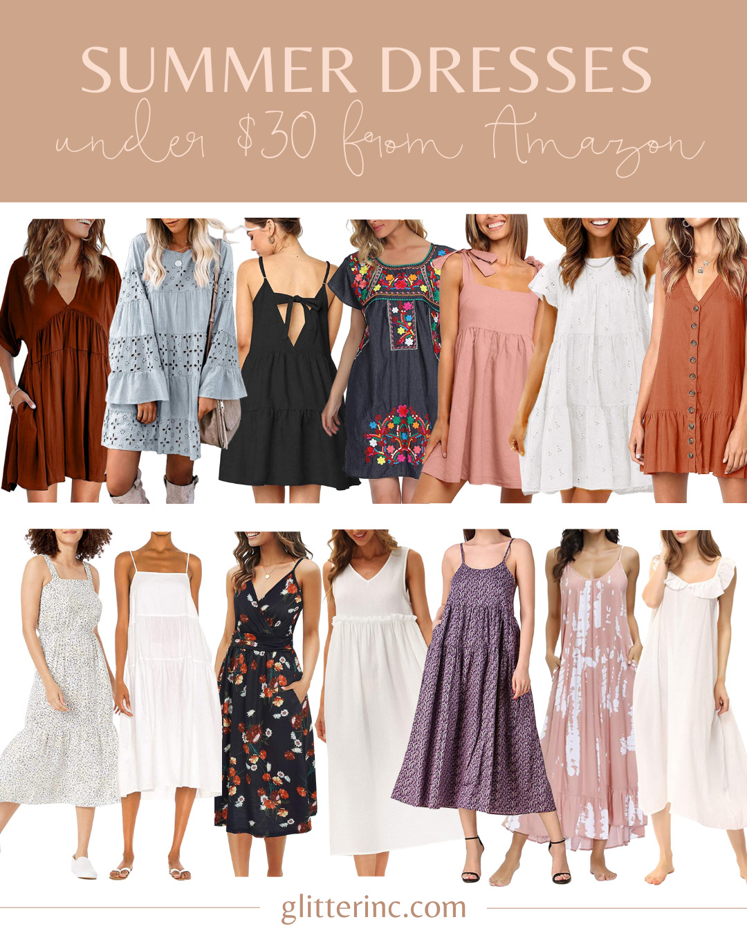 a collage of different Summer Dresses Under $30 from Amazon