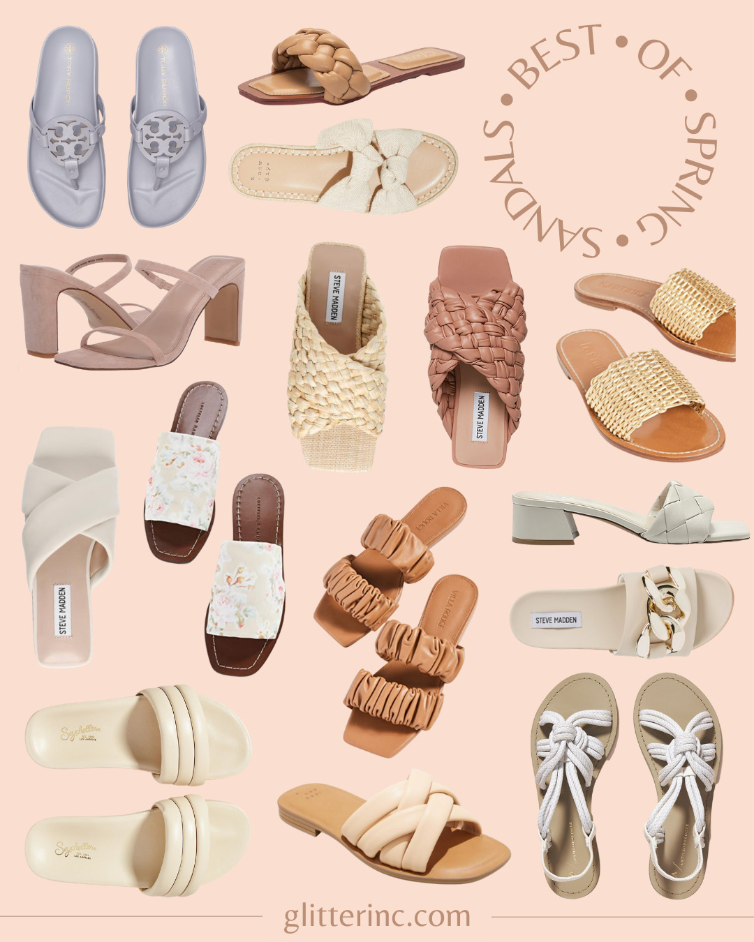 a collage of Spring Sandals