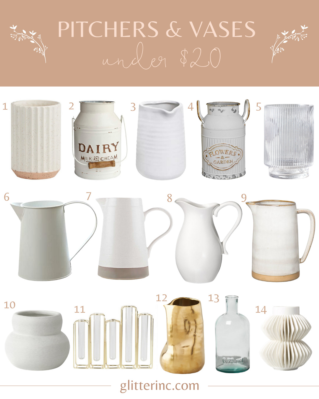 a collage of white Vases Under $20 and pitchers