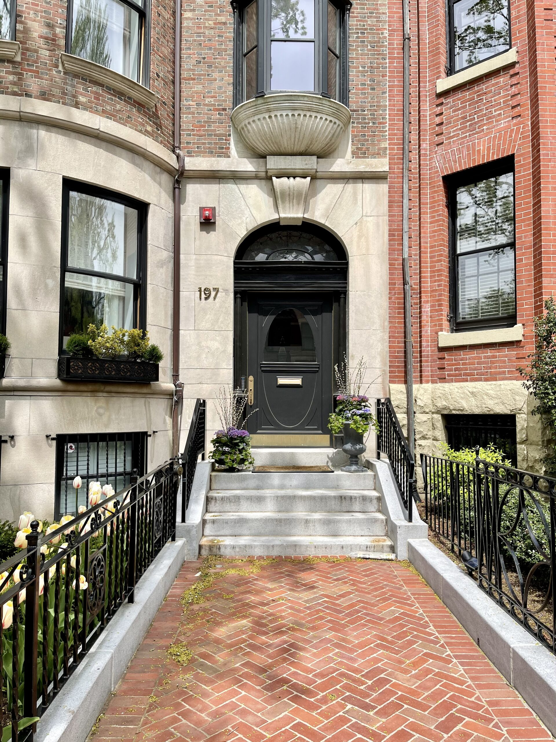 exterior of a home in Back Bay with stairs for Mother's Day Weekend Plans