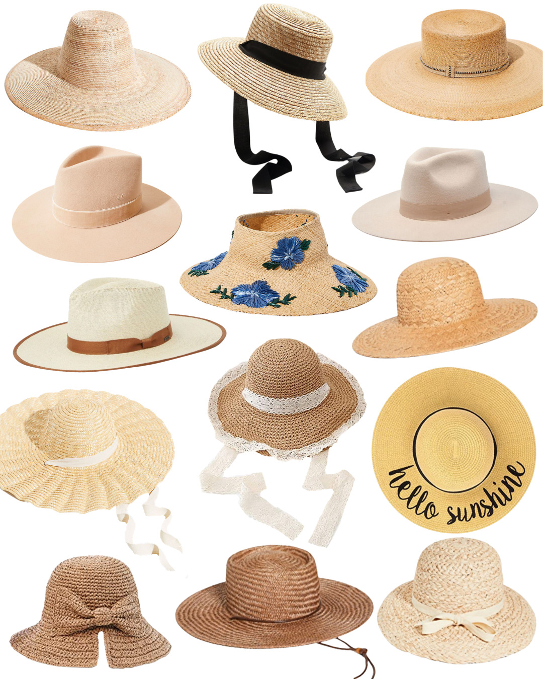 a collage of the The Best of Summer Hats