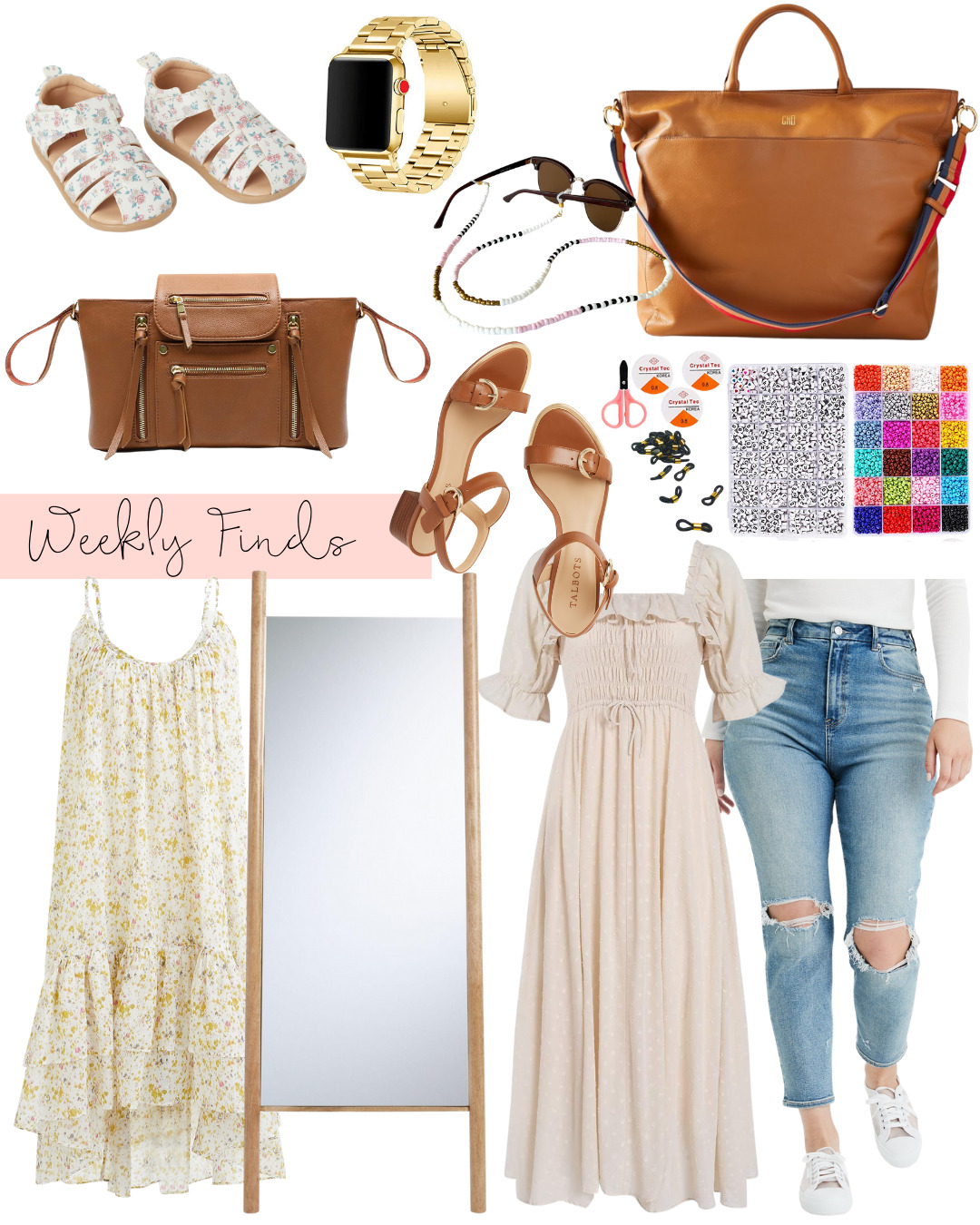 collage of Weekly Finds, DIY Beaded Sunglass Chains, and My New Favorite Jeans | @glitterinclexi | GLITTERINC.COM