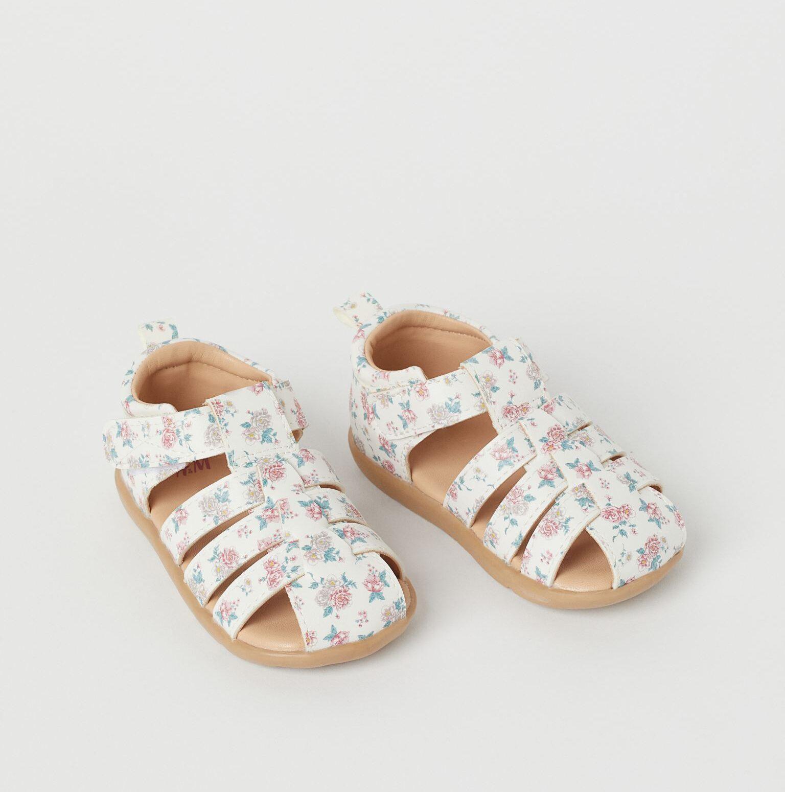 H&M Kids White Floral Sandals