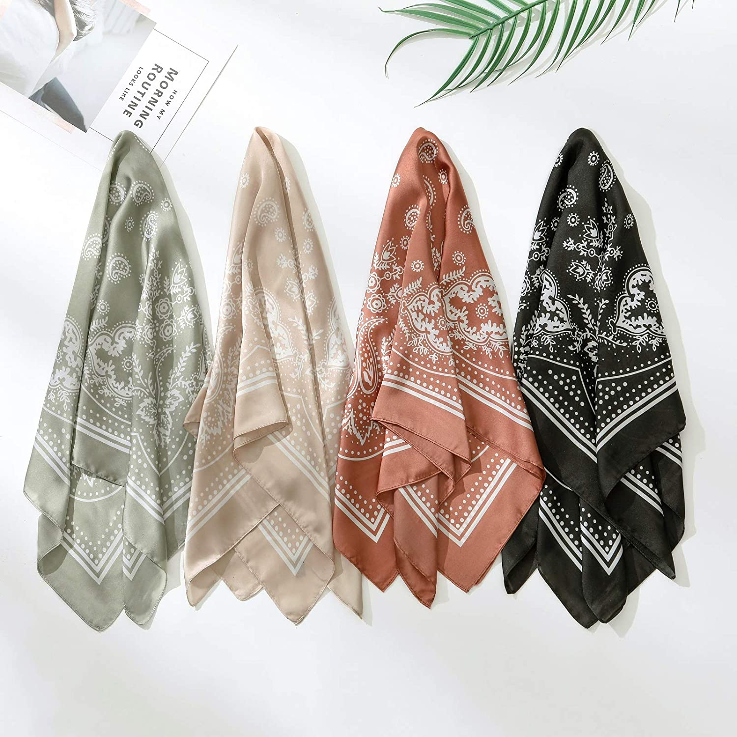 four colors of Satin Square Head Scarves
