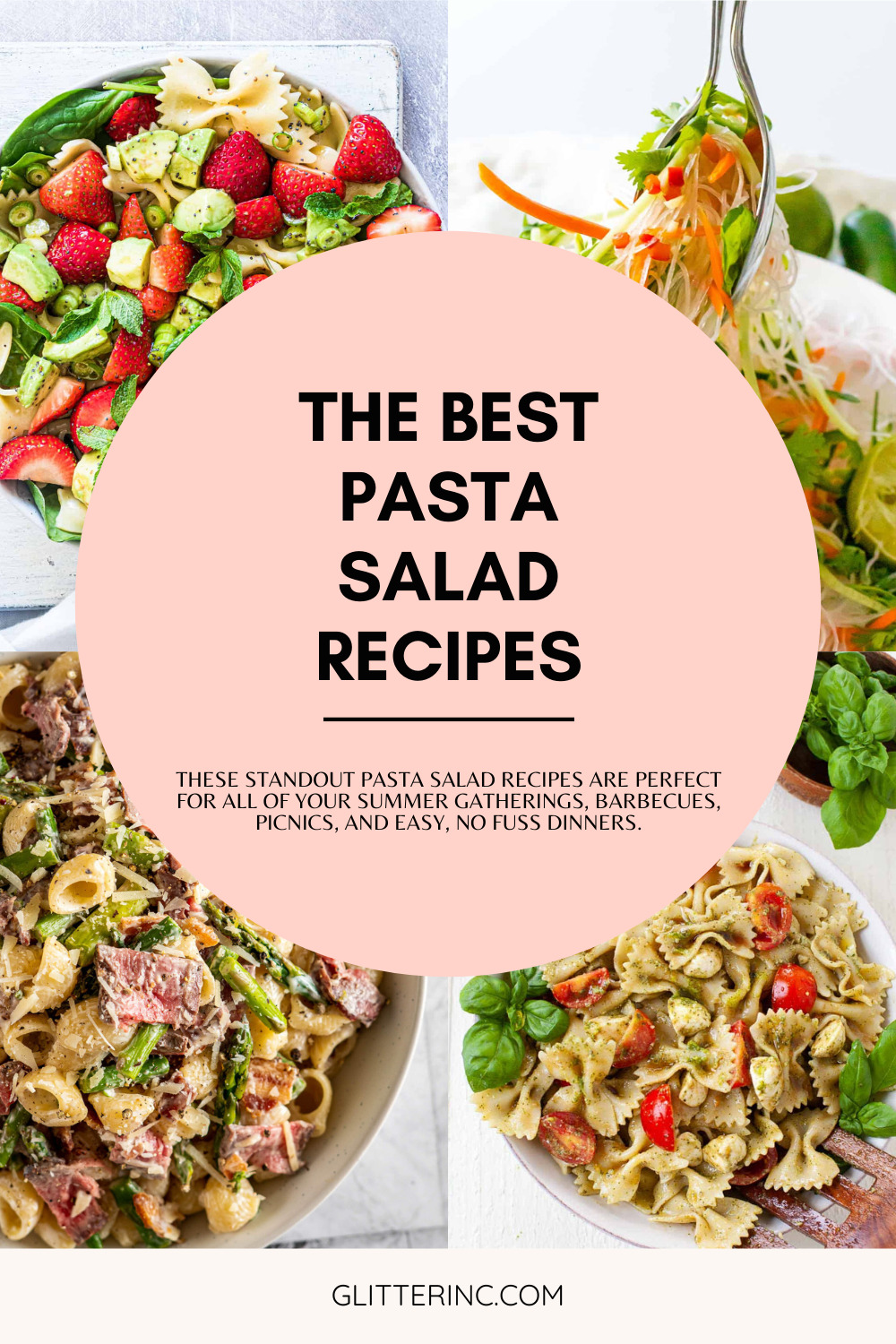 collage of pasta recipes and text for the best salad recipes