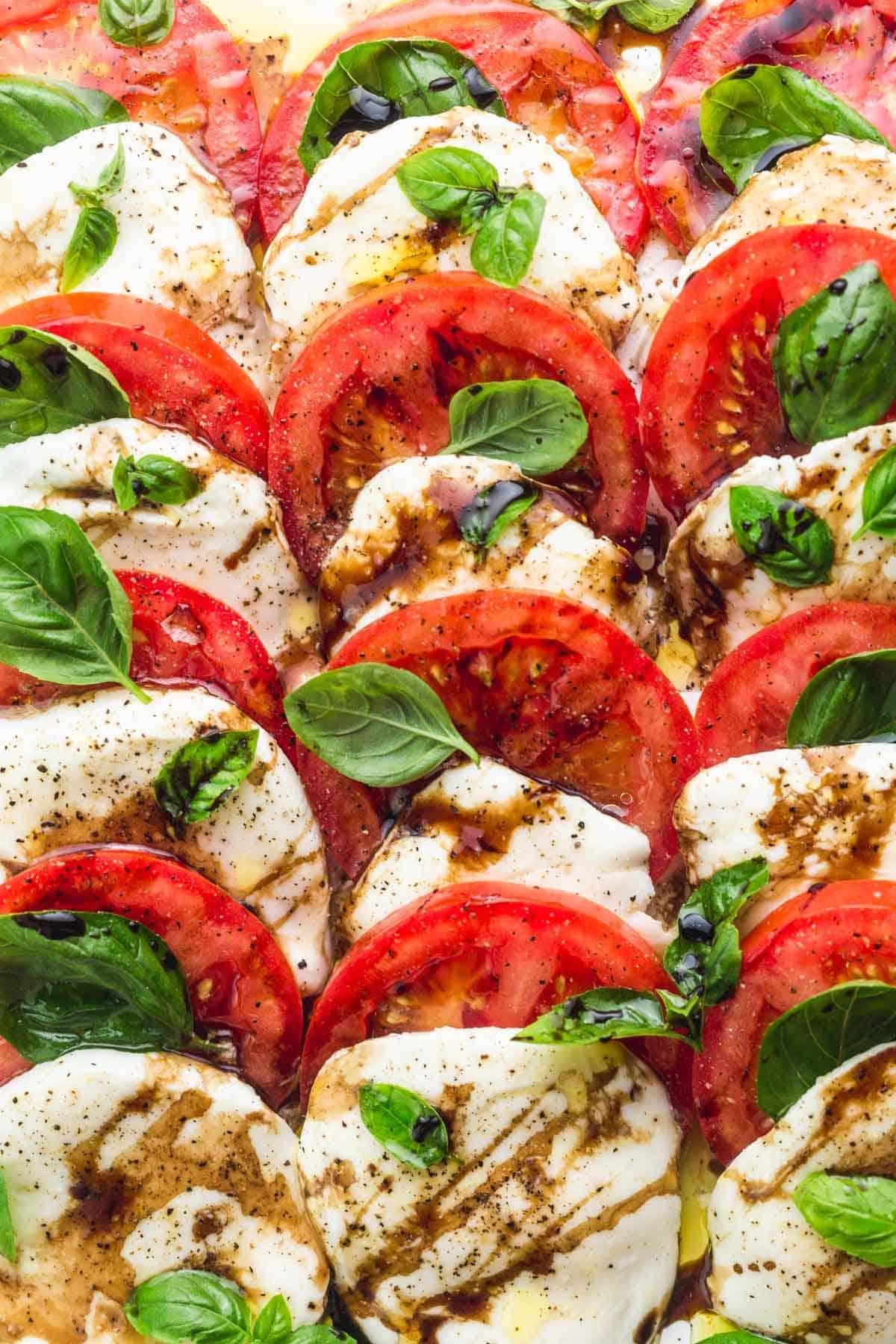 closeup of Classic Caprese Salad