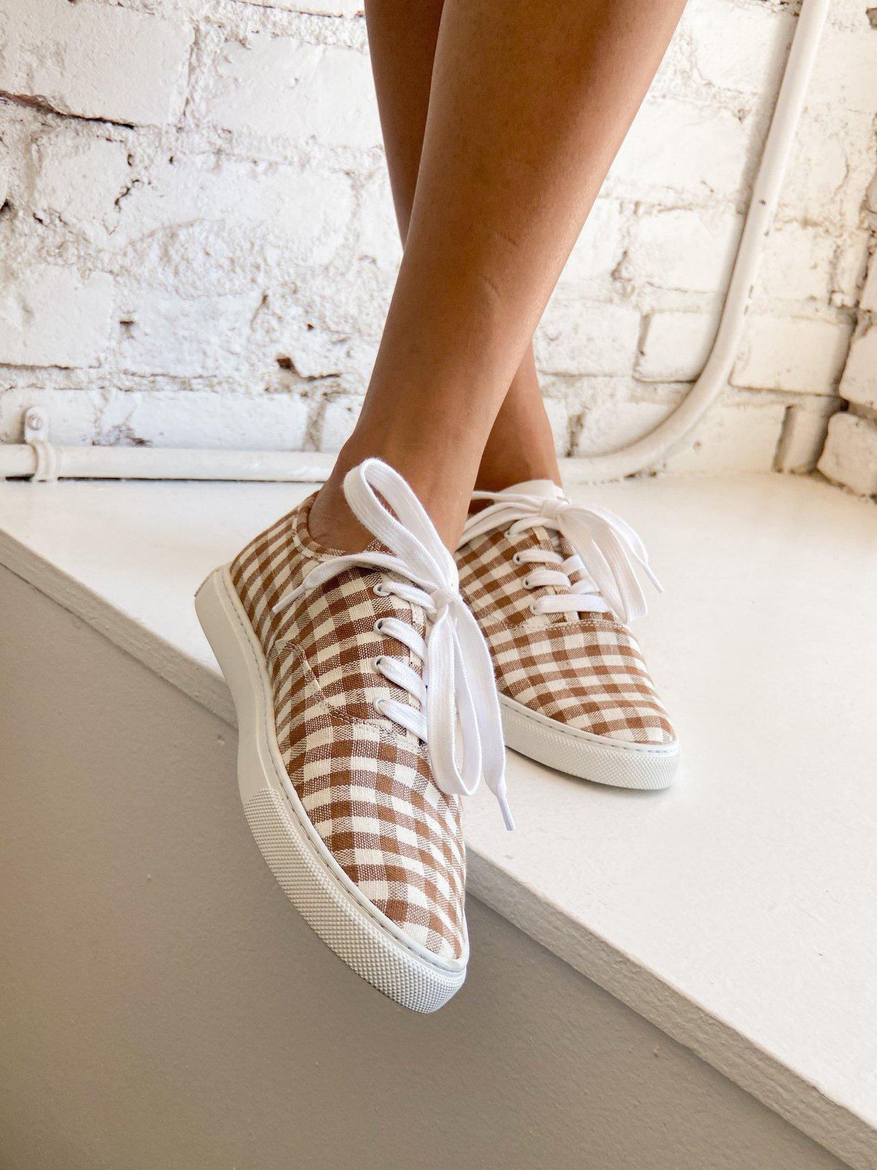 woman wearing Loeffler Randall Keegan Brown Gingham Casual Sneakers
