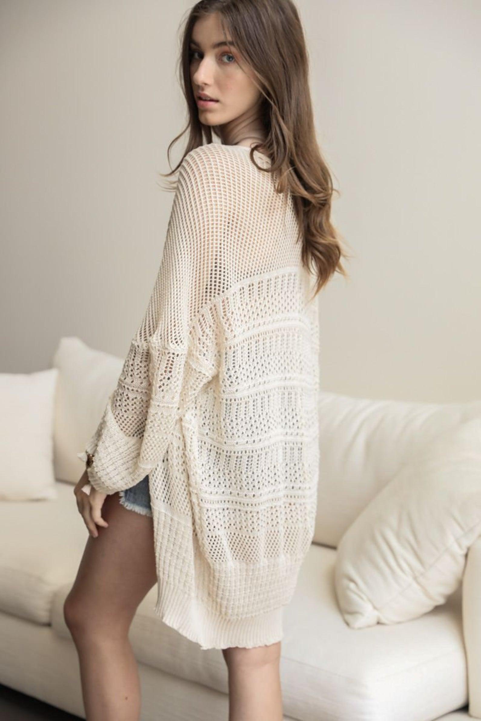 woman wearing Oversized Crochet Cardigan Kimono  Summer Accessories