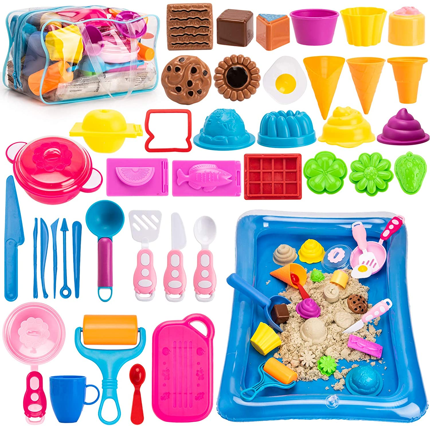 Kinetic Sand Molds Tools, Kitchen Toys, Sand Tray and Storage Bag, 44PCS Sandbox Toys Set for Toddlers and Kids
