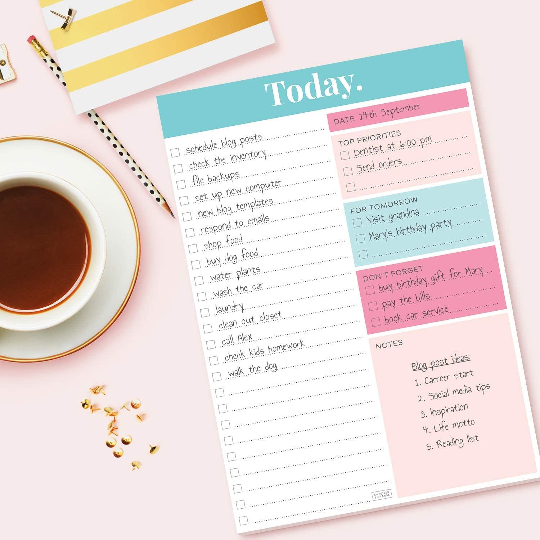 "Sweetzer & Orange Daily Planner 2021, Undated Planner To Do List Notepad. 7x10"" Day Planner Note Pad. Checklist Productivity Organizer"