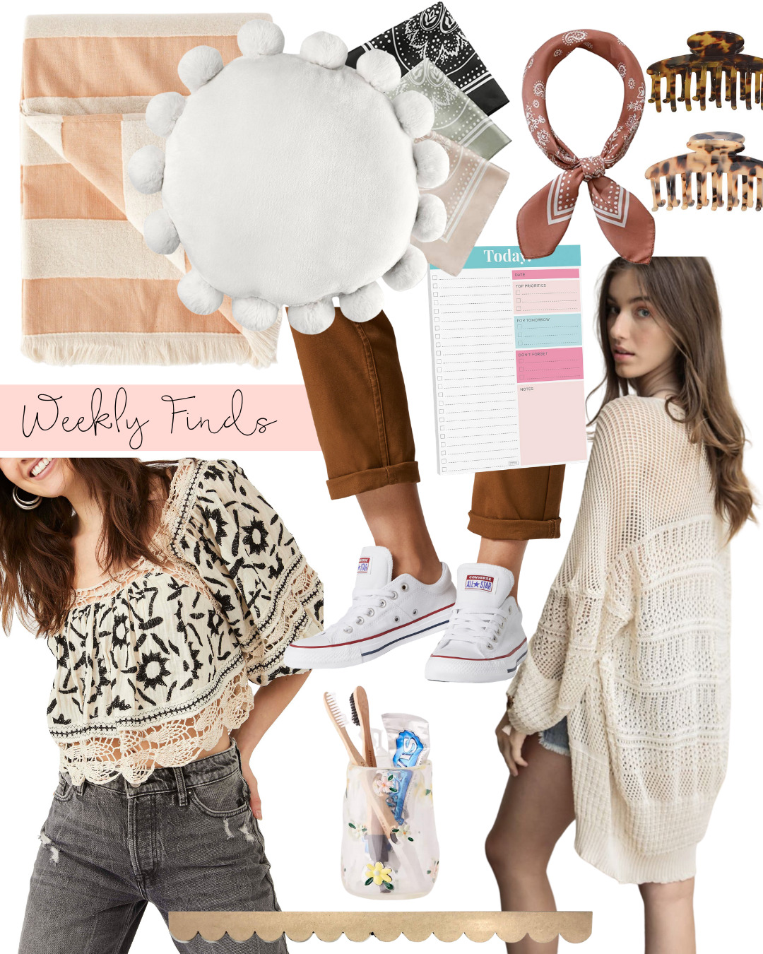 a collage of Weekly Finds + Summer Accessories Fashion and Home Finds
