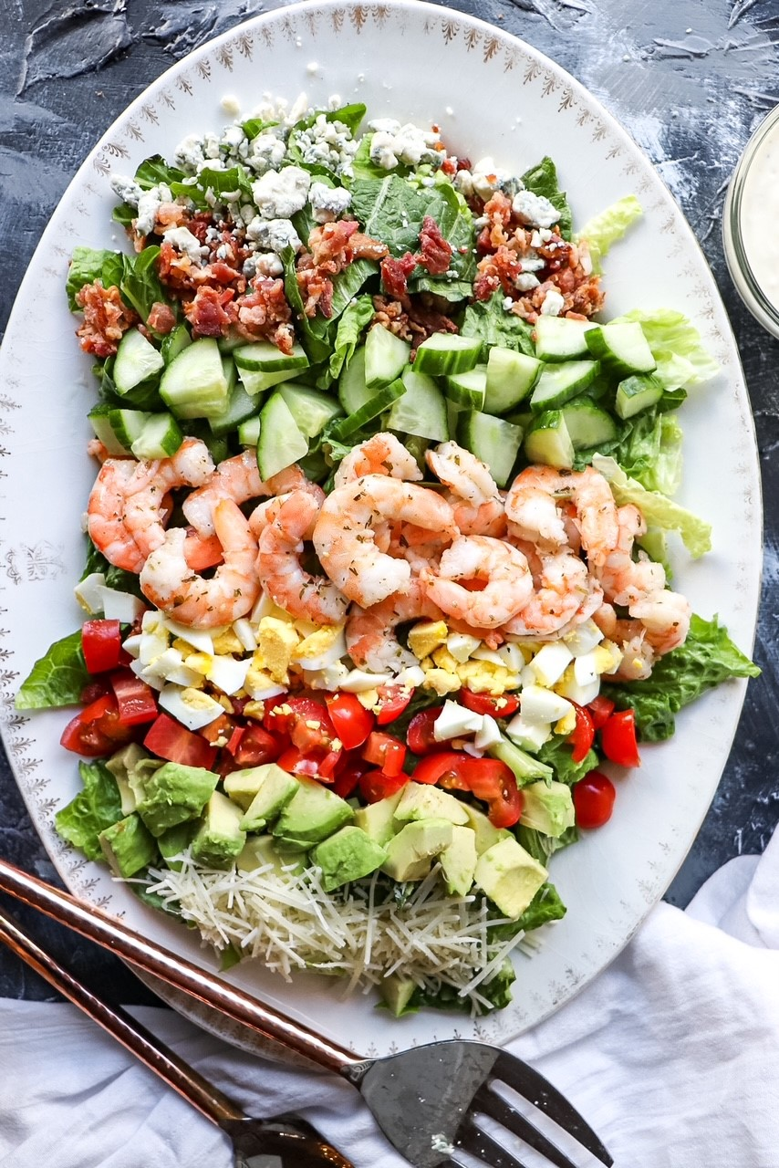 Cobb Salad with Cilantro Lime Marinated Shrimp