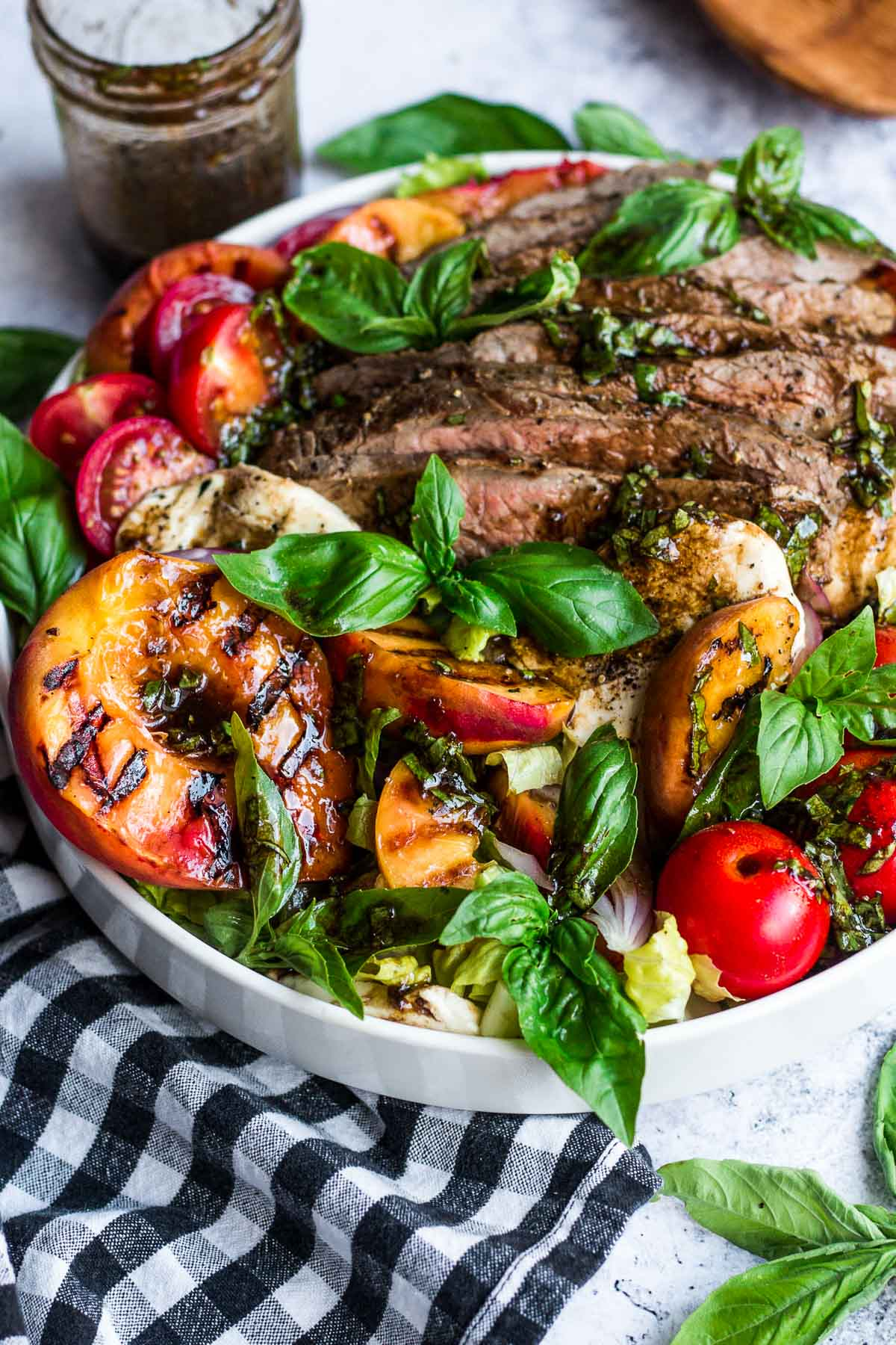 Grilled Flank Steak Salad with Peaches