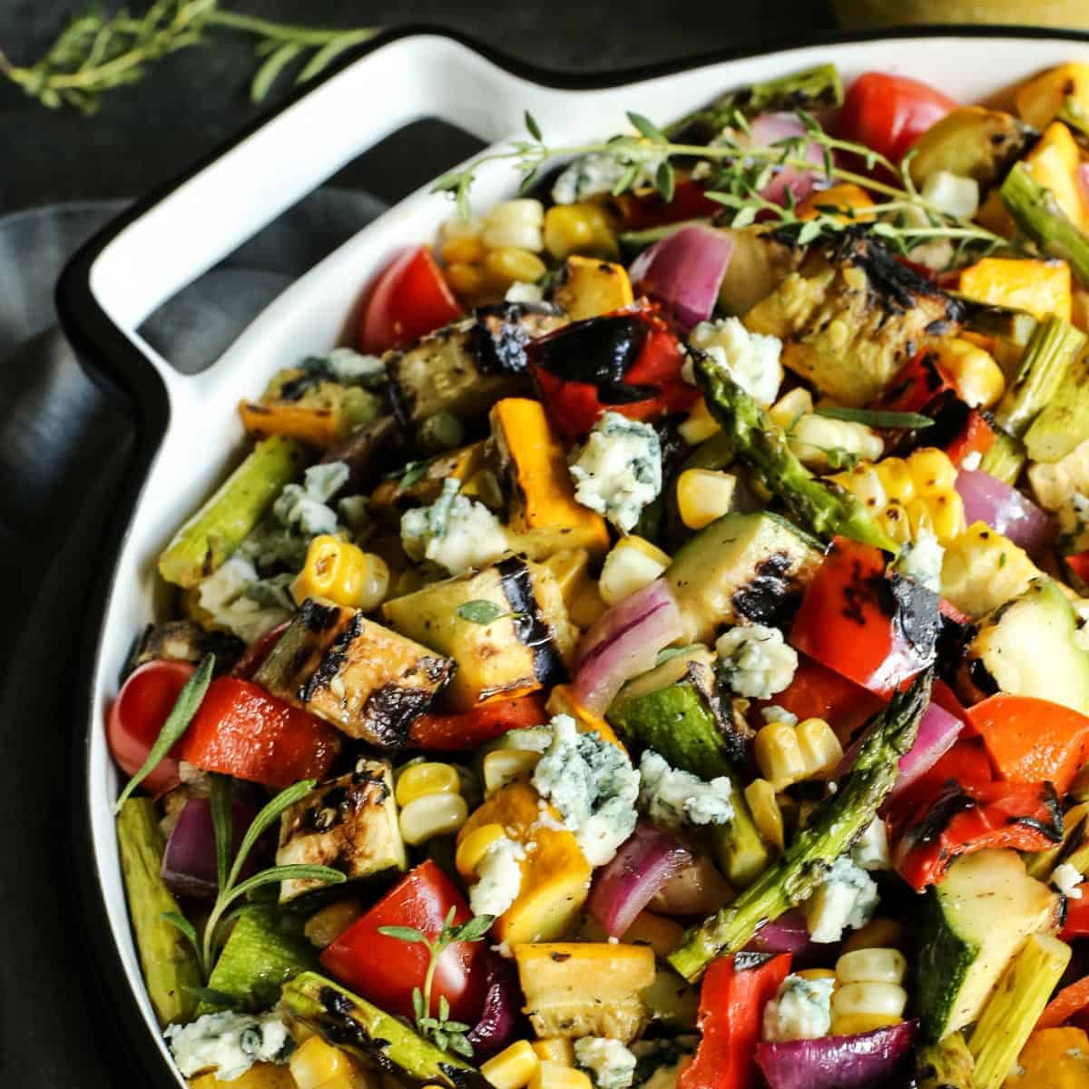 Grilled Vegetable Salad on white serving platter