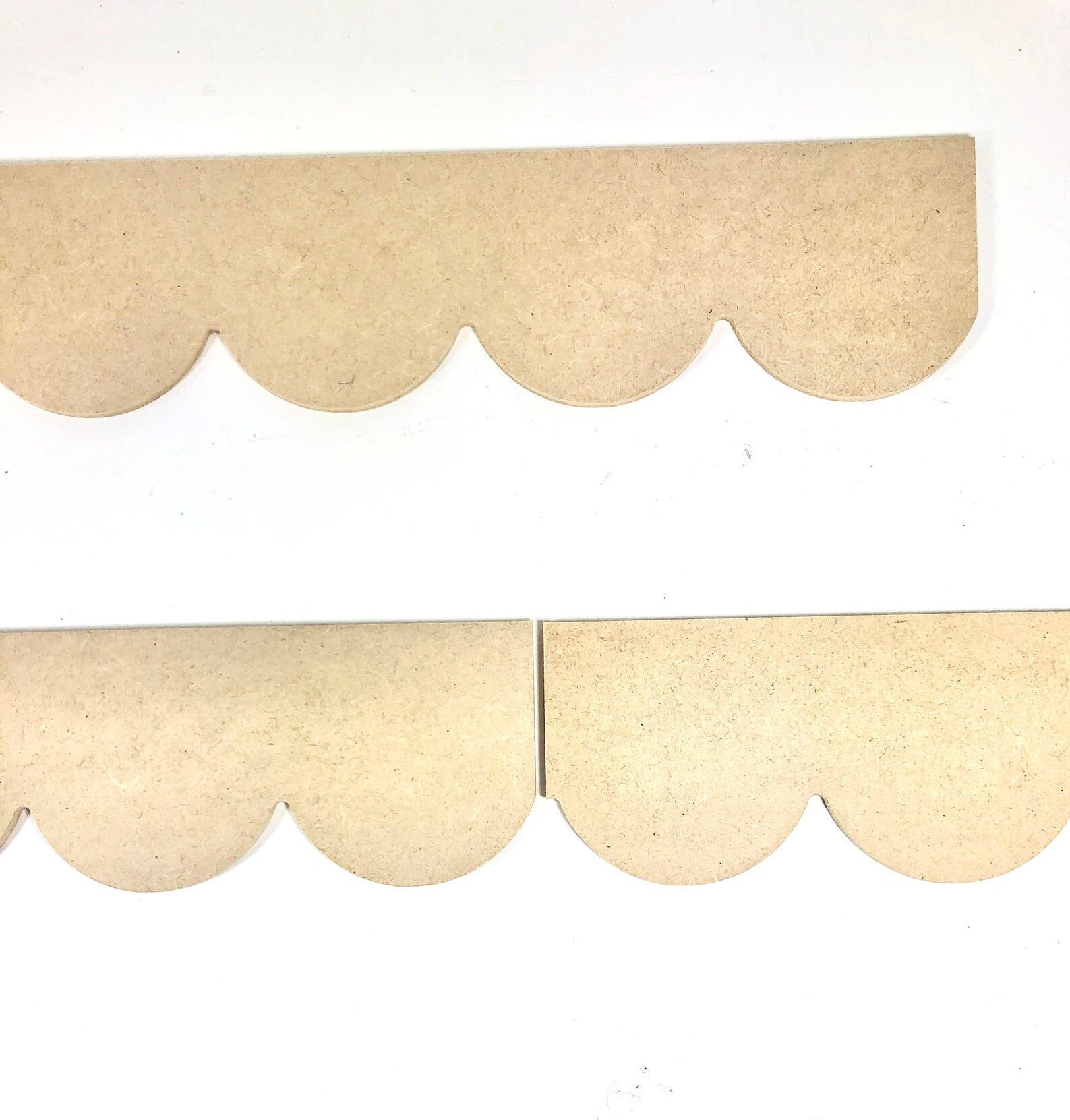 """Scallop pattern MDF wood cutout- 3 Pack, 46"""" long Unfinished Wooden MDF Paint Grade Scalloped Crown Molding Trim ready for your next project"""