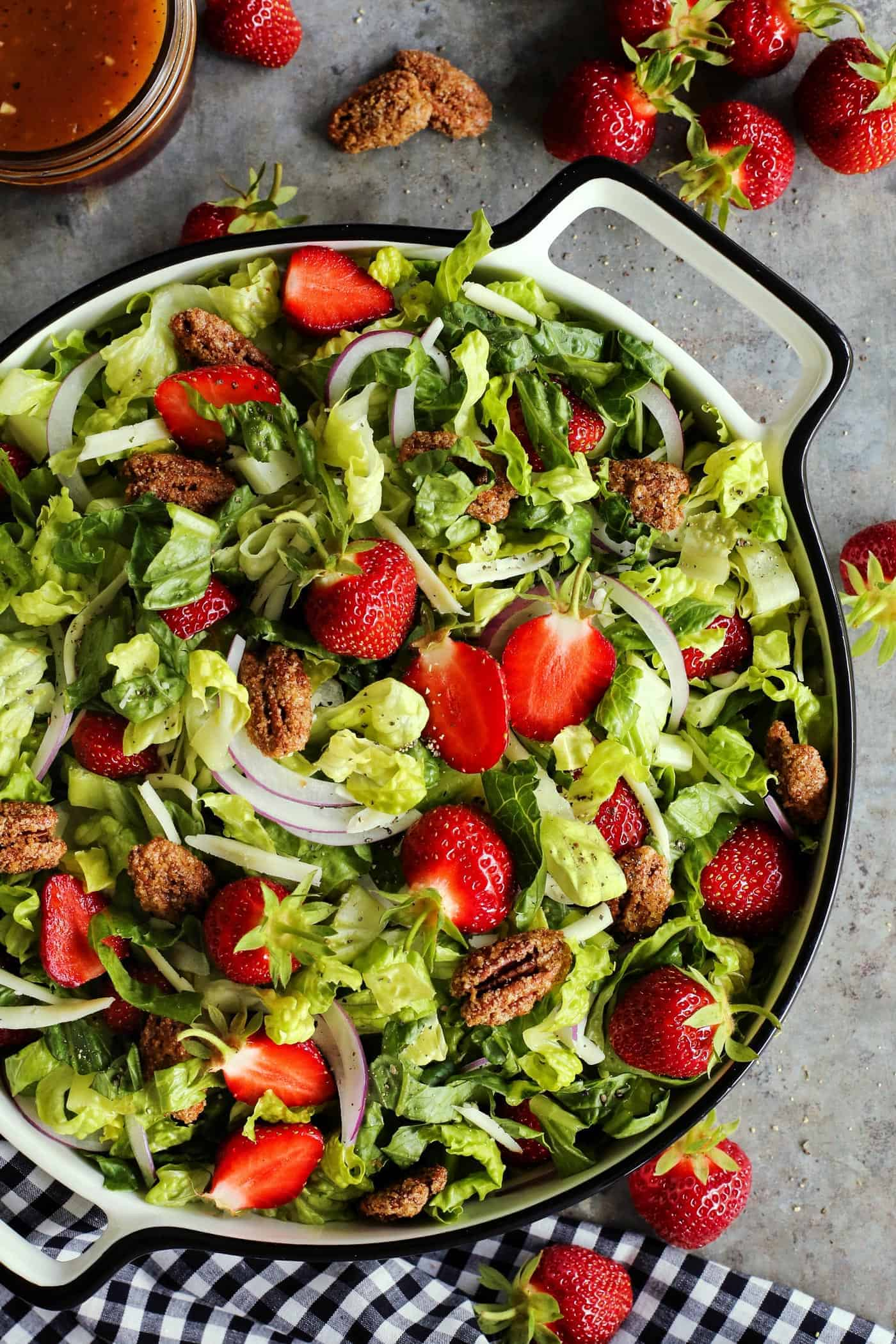 Strawberry Salad with Candied Pecans and Red Wine Vinaigrette