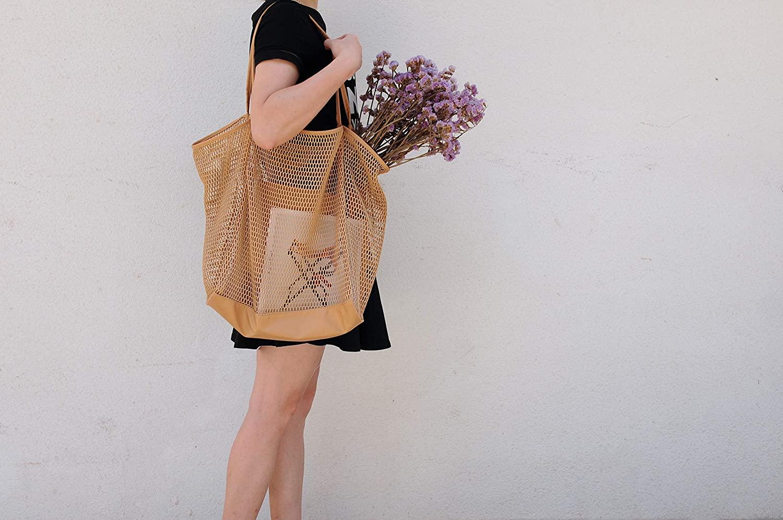 Hoxis Mesh Beach Tote Shoulder Handbag