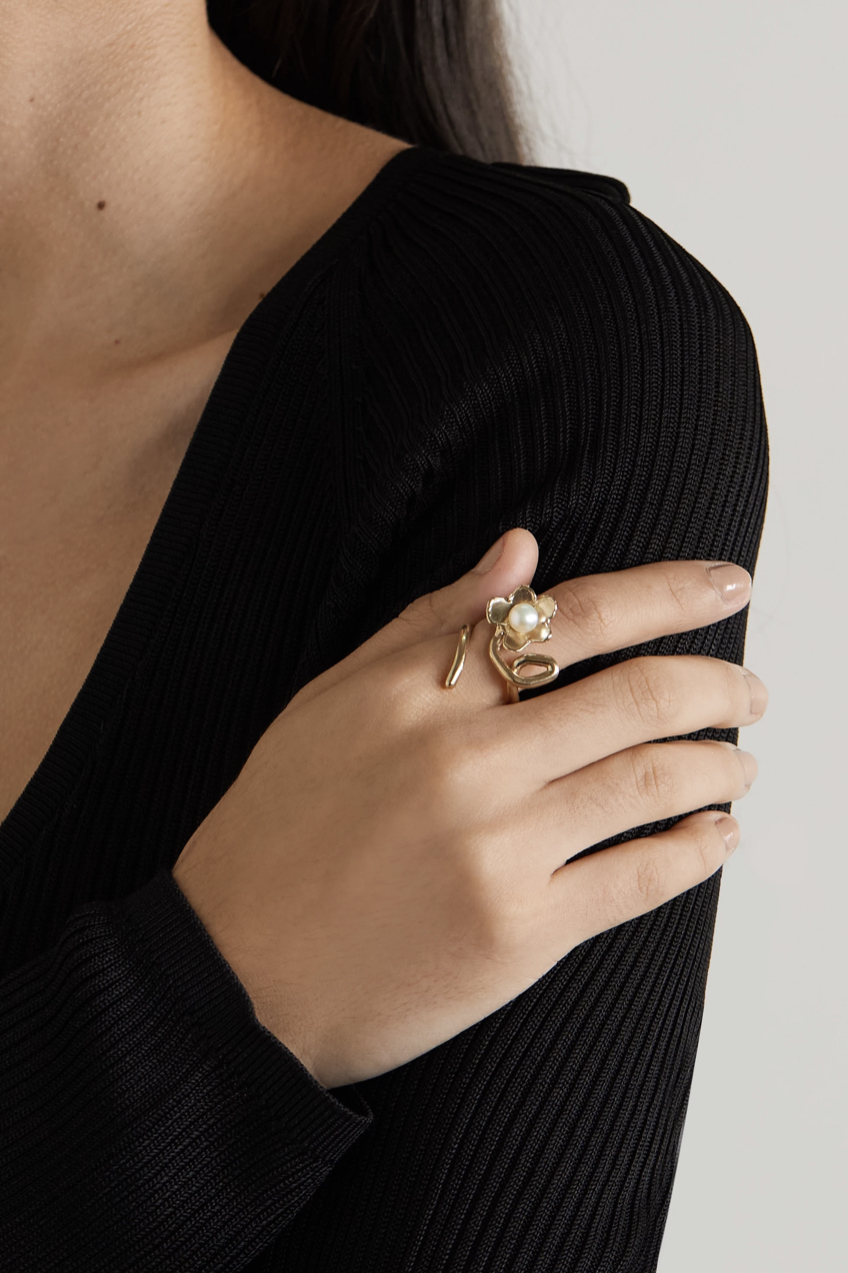 ANITA BERISHA Daisy Crawler Gold Pearl Ring