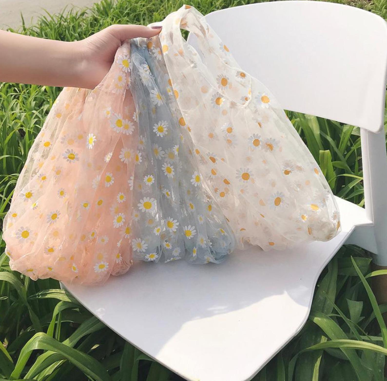 Organza Daisy Shopping Tote Bag
