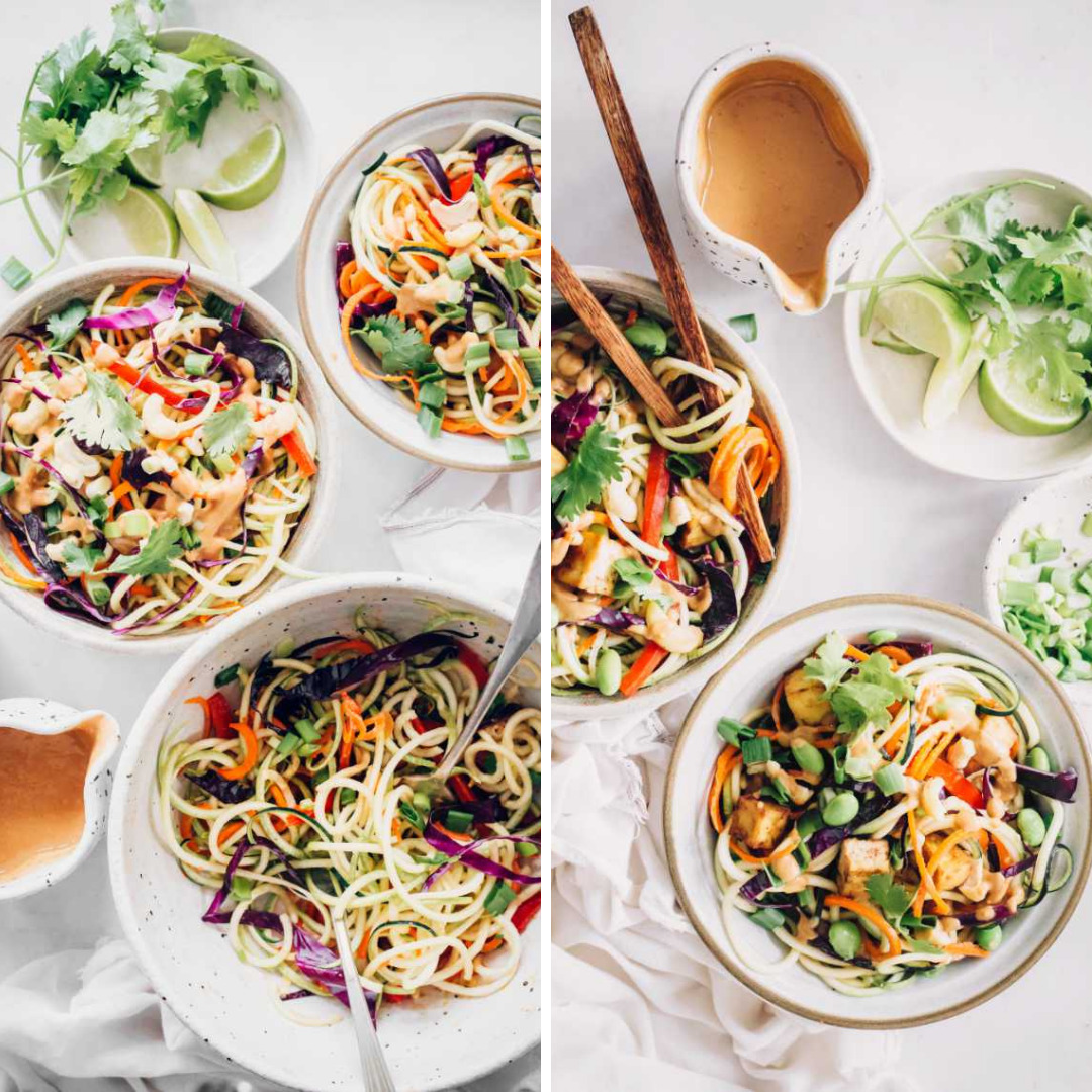 Raw Vegan Pad Thai Salad With Zucchini + Spicy Peanut Sauce for Incredible Summer Salad Recipes on white plates