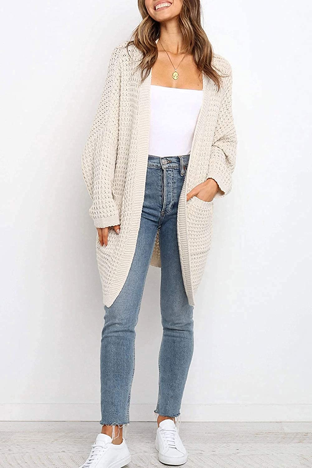 Women's Long Batwing Sleeve Open Front Chunky Cable Knit Cardigan Sweater Casual Outerwear with Pockets