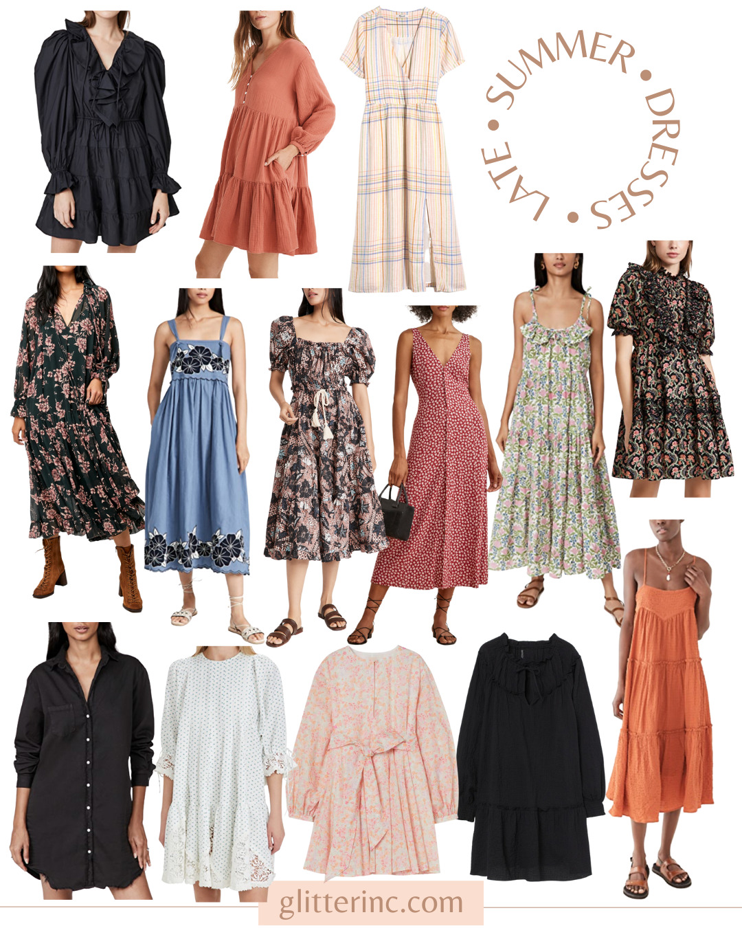 collage of 14 Late Summer Dresses