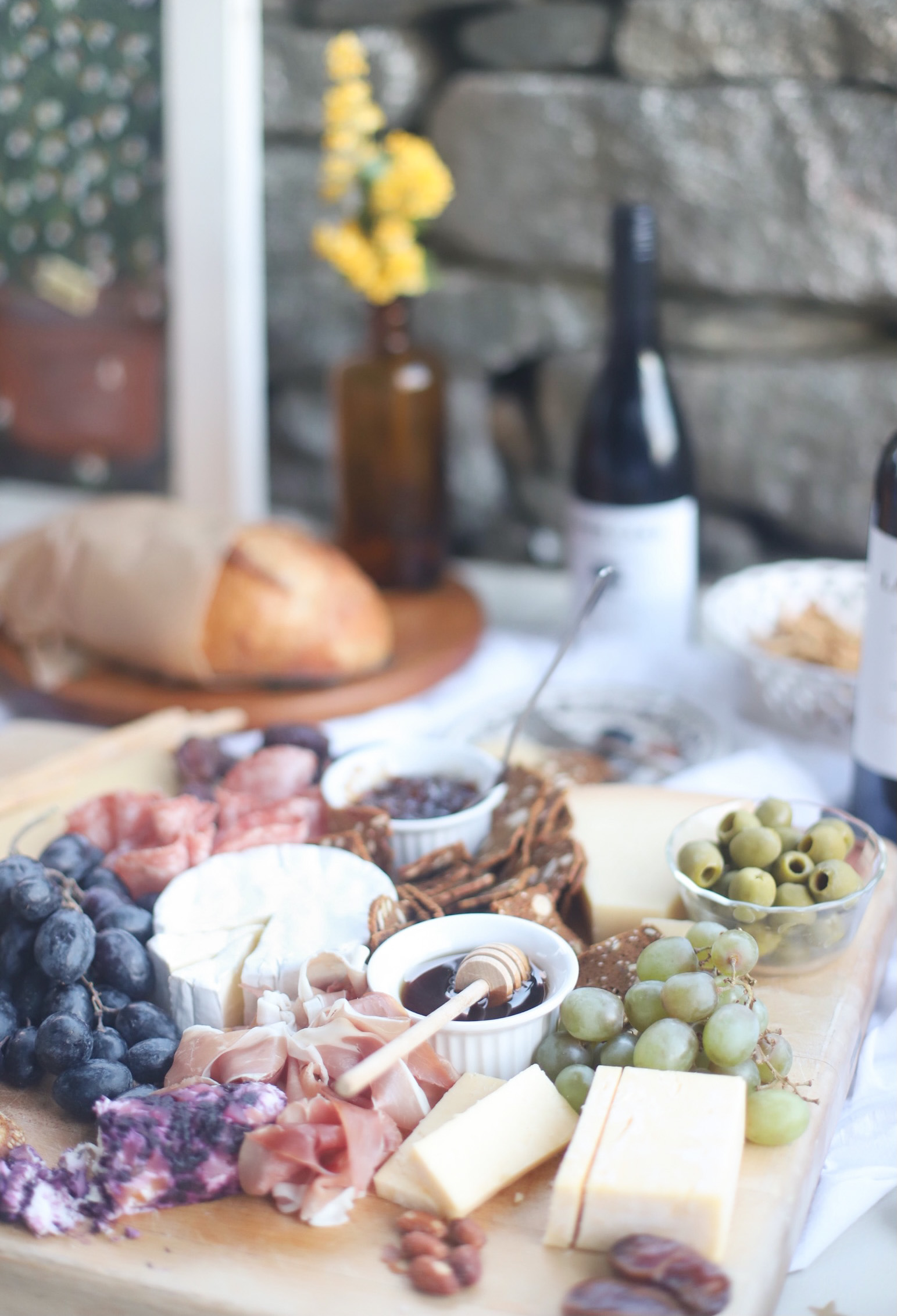 Charcuterie and Wine for a romantic dinner at home