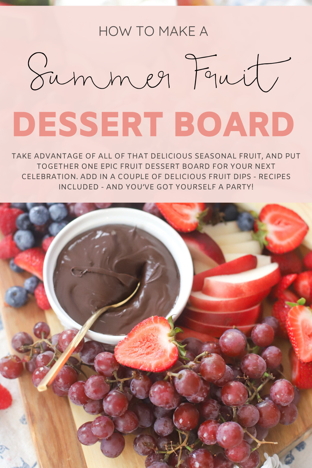 collage of One Epic Fruit Dessert Board + Our Favorite Dairy Free Marshmallow Cheesecake Dip