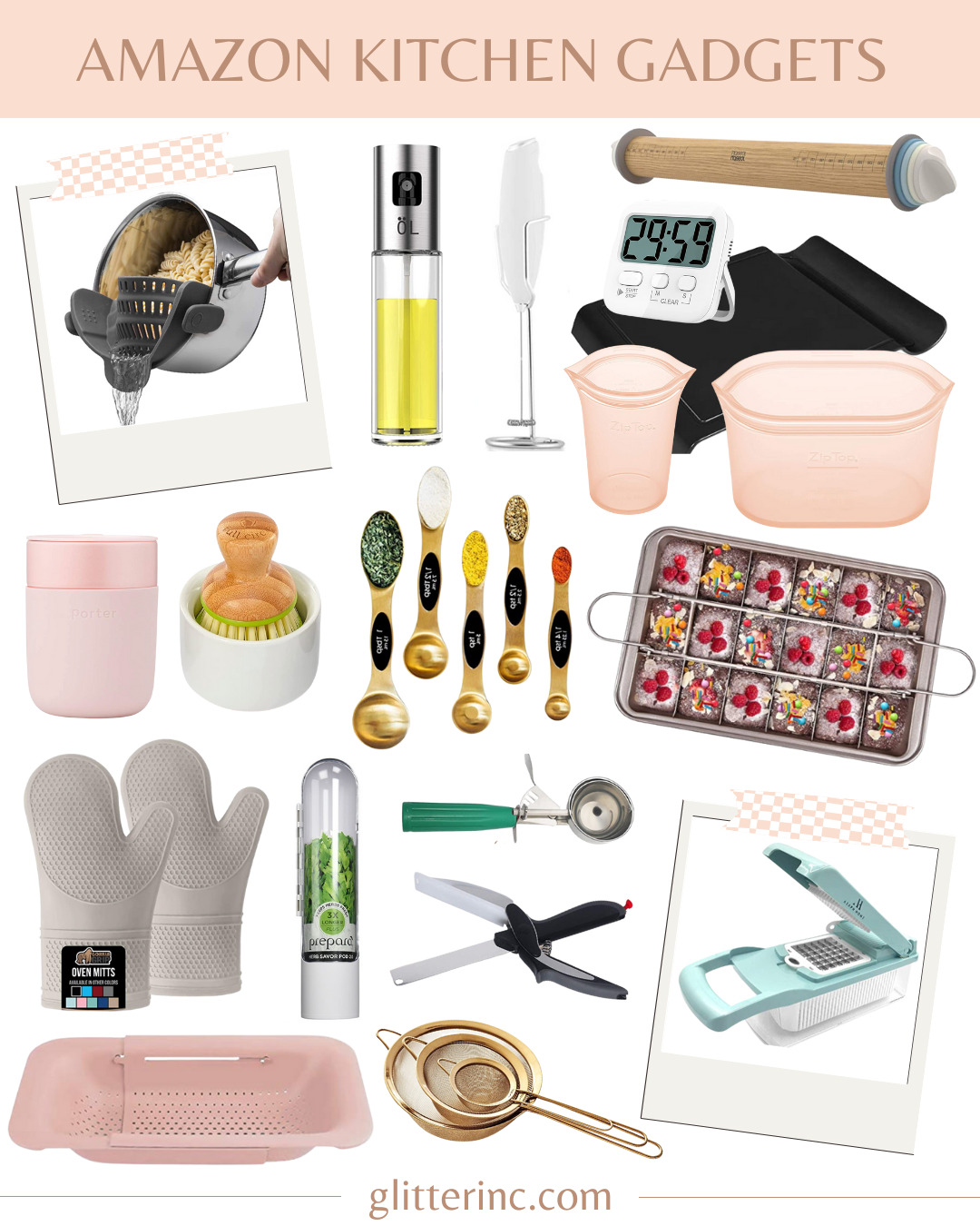 collage of 18 Amazingly Useful Amazon Kitchen Gadgets- Cooking and Baking Essentials to Make Life Easier -   @glitterinclexi   GLITTERINC.COM