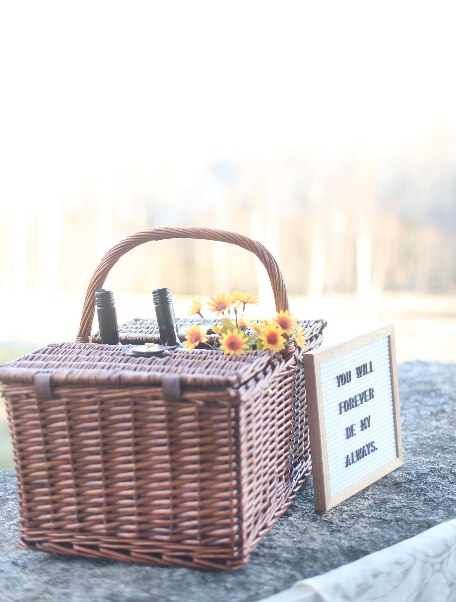 a basket for date night porch picnic with wine