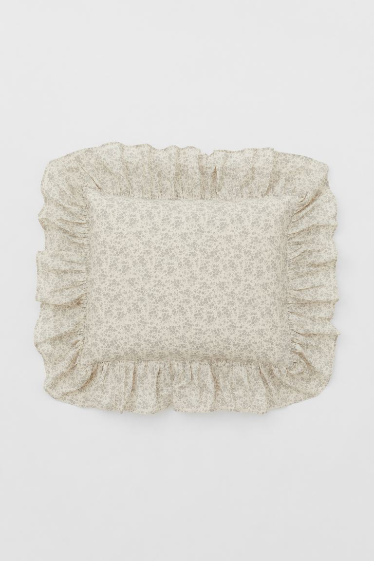 H&M Light Beige and Floral Pillowcase