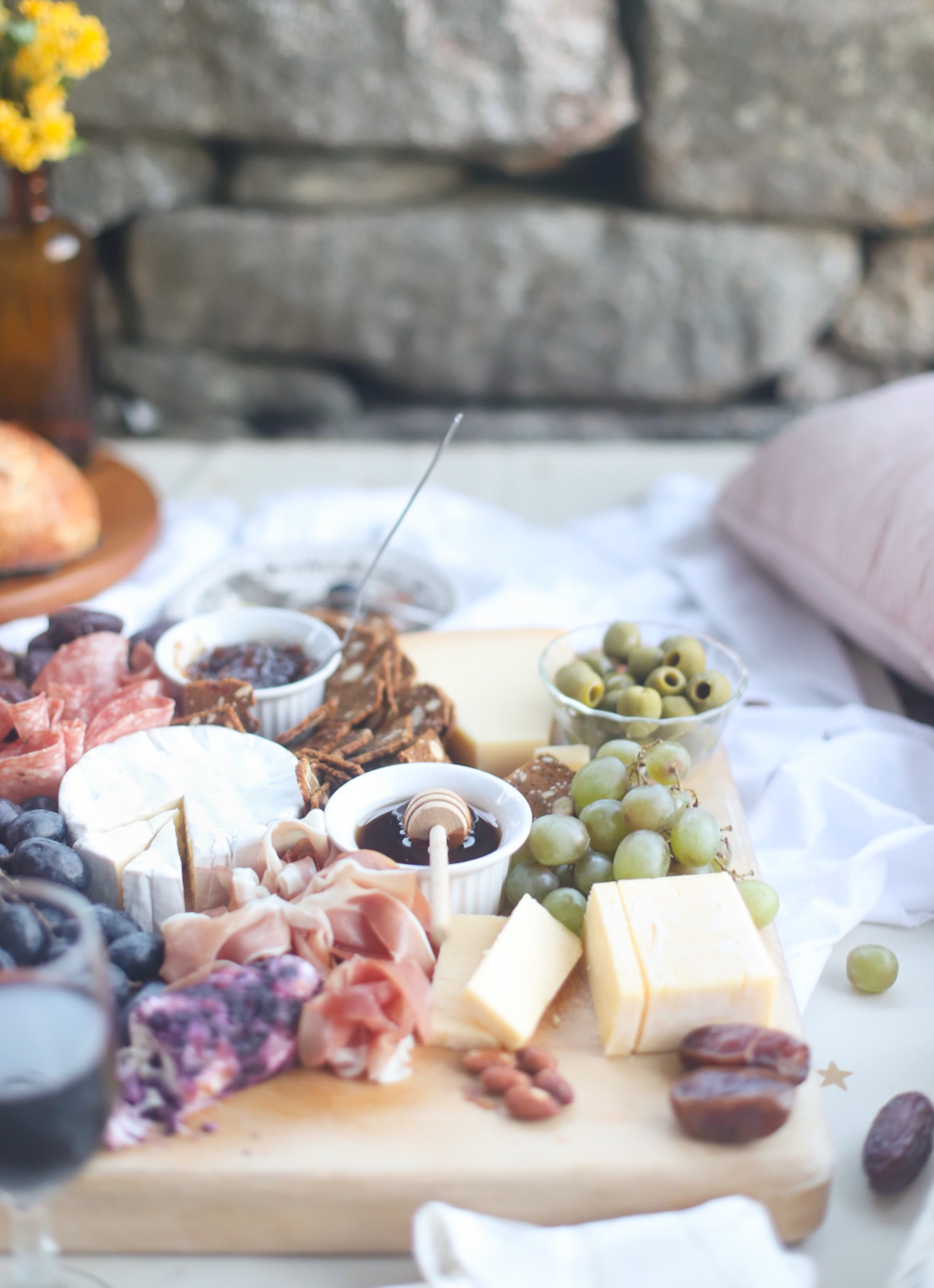 Charcuterie and Wine for date night porch picnic at home
