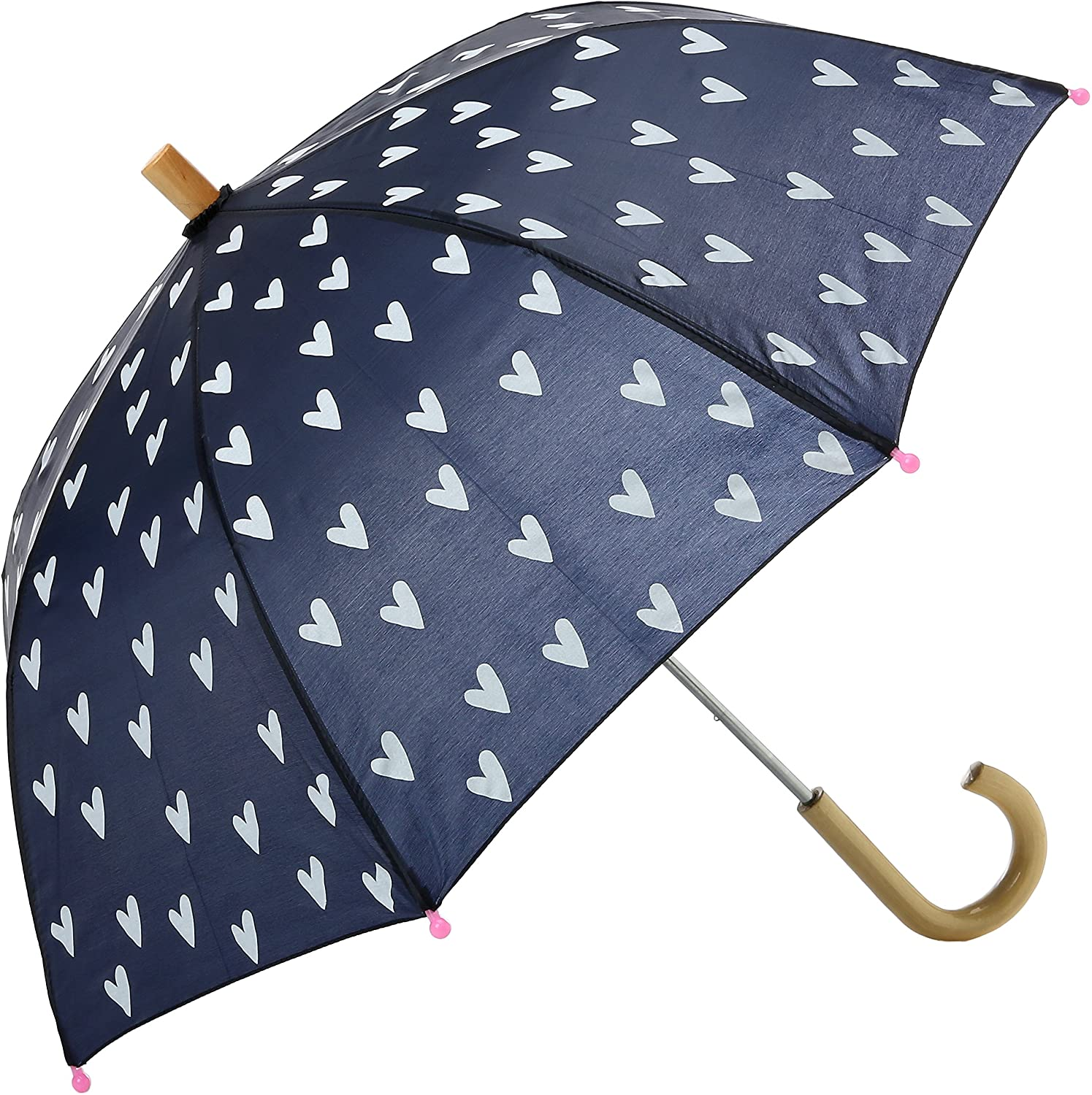 Hatley Girls' Little Printed Umbrellas, Navy and White Hearts
