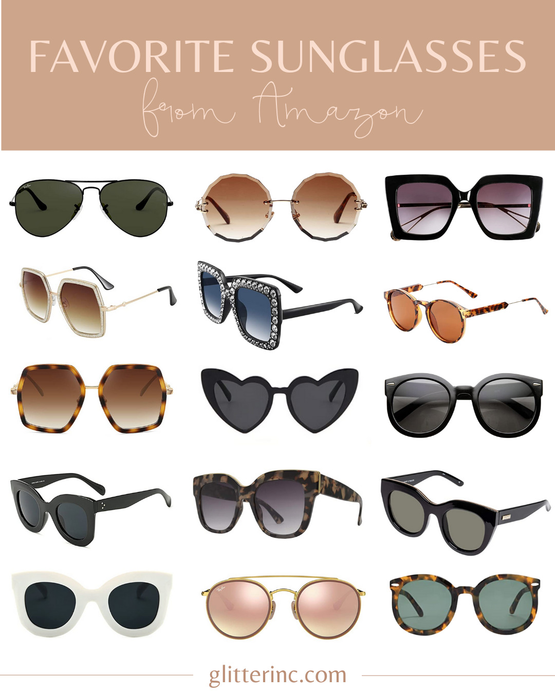 collage of Favorite Sunglasses From Amazon