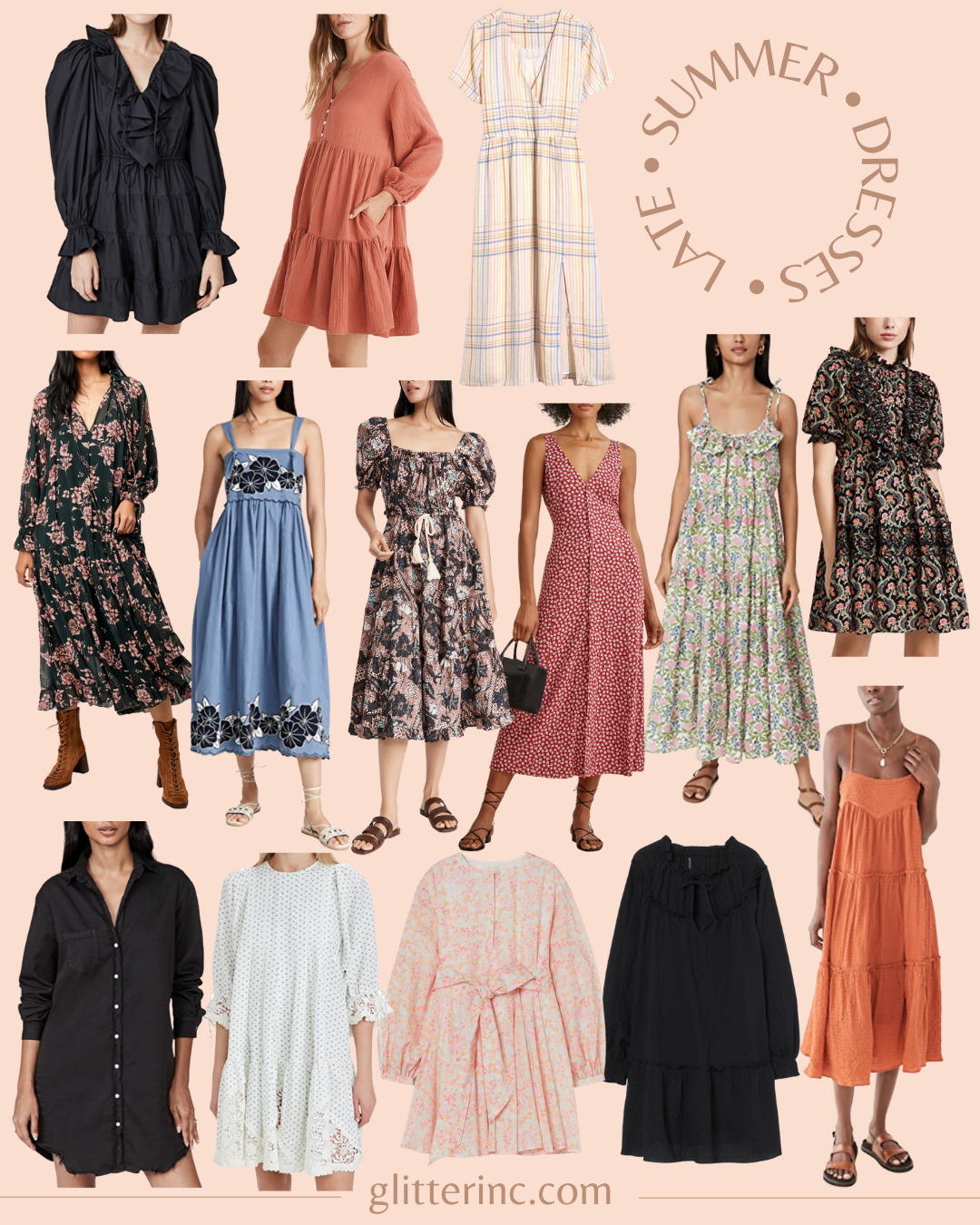 collage of 14 Late Summer Dresses - End of Summer Dresses -