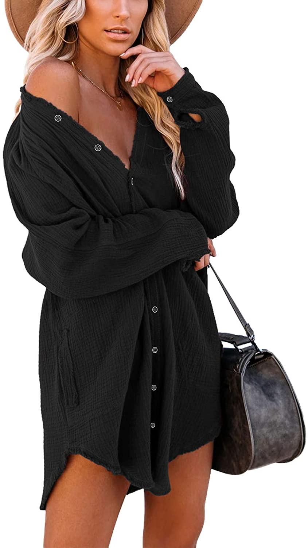 iGENJUN Women's Long Sleeve Button Down Tunic Dress with Pockets