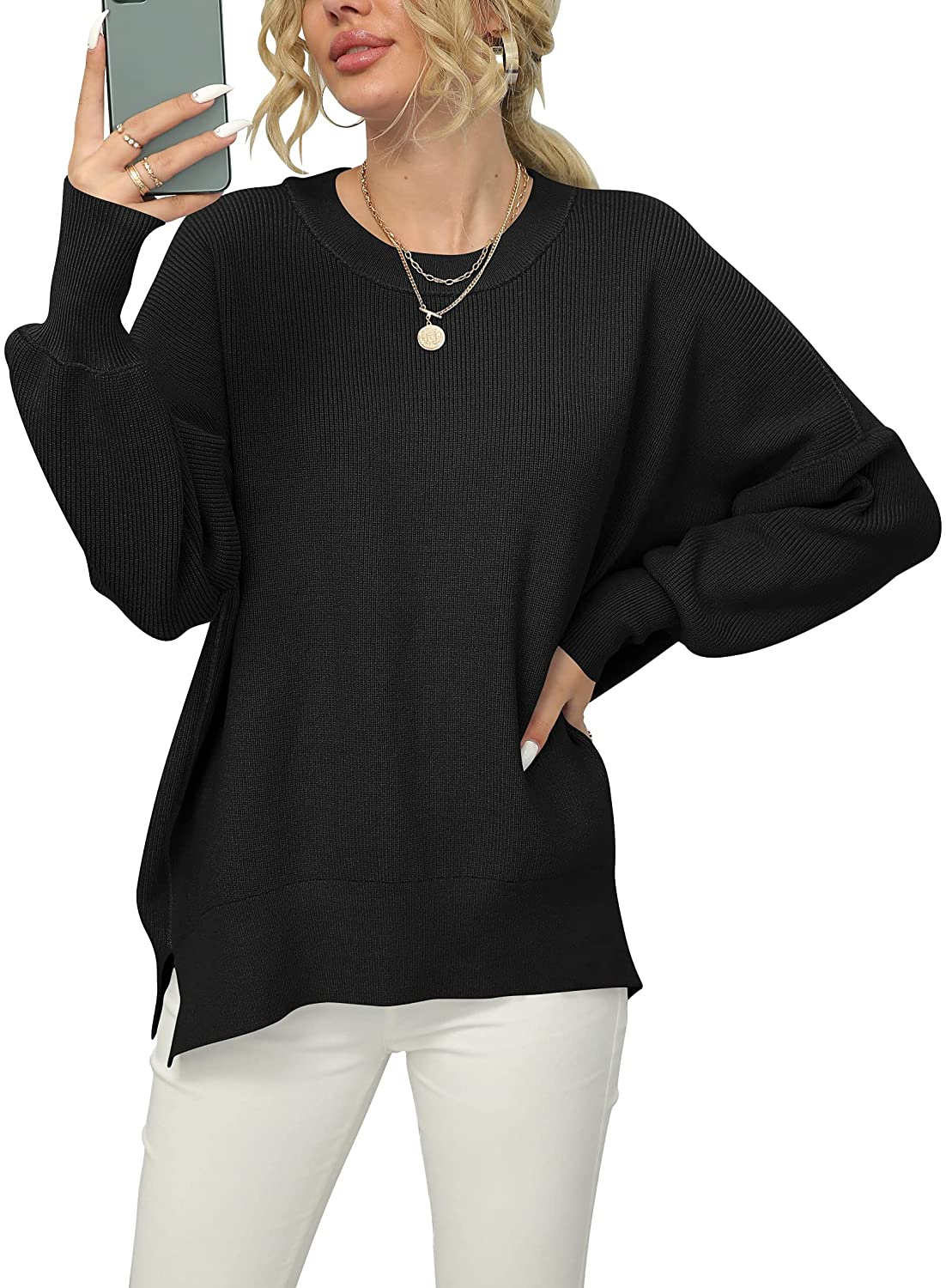 ANRABESS Women Crewneck Batwing Sleeve Oversized Side Slit Ribbed Knit Pullover Sweater Top