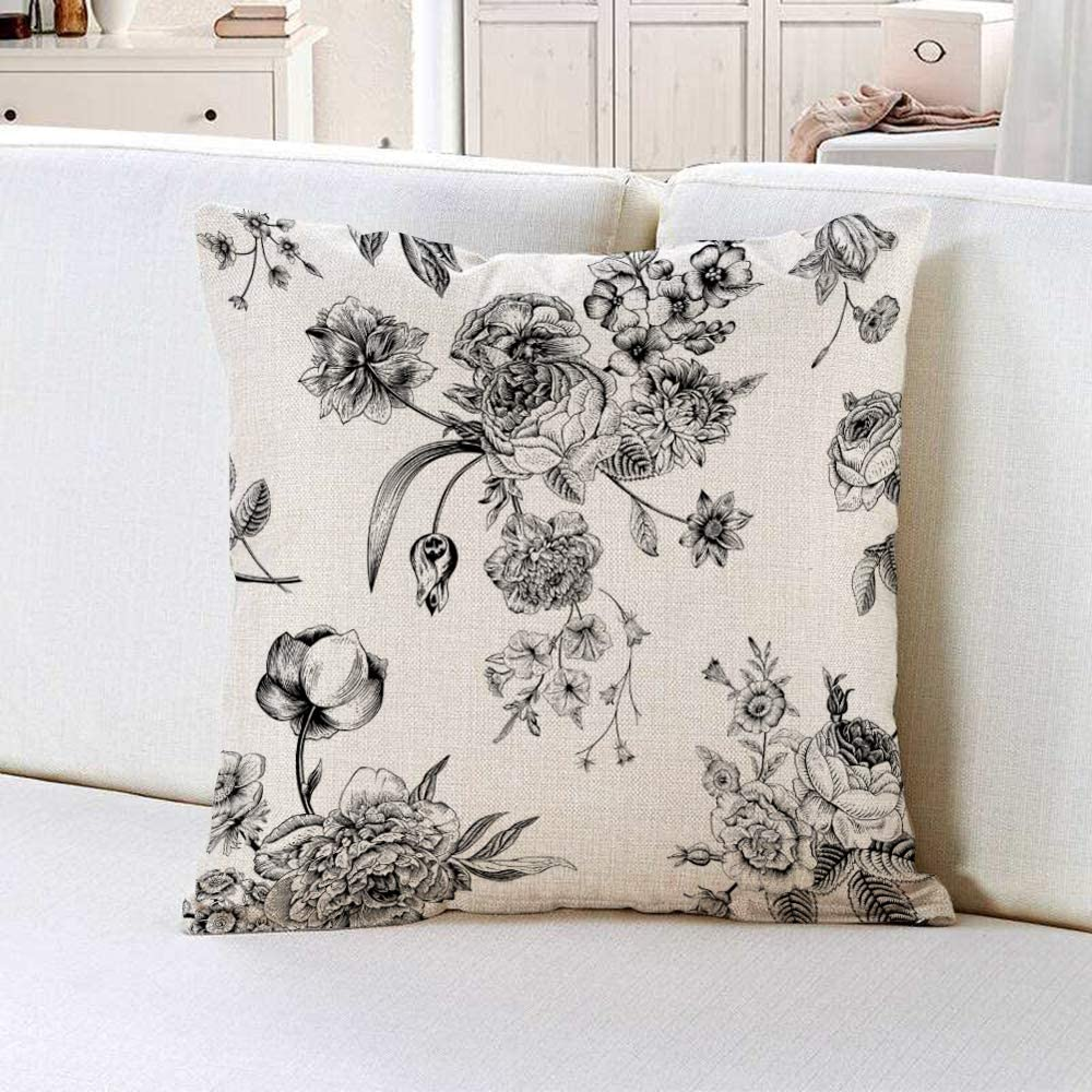 Throw Pillow Cover in Vintage Floral with Victorian Bouquet of Black Flowers 18x18 Inch Linen Pillowcase